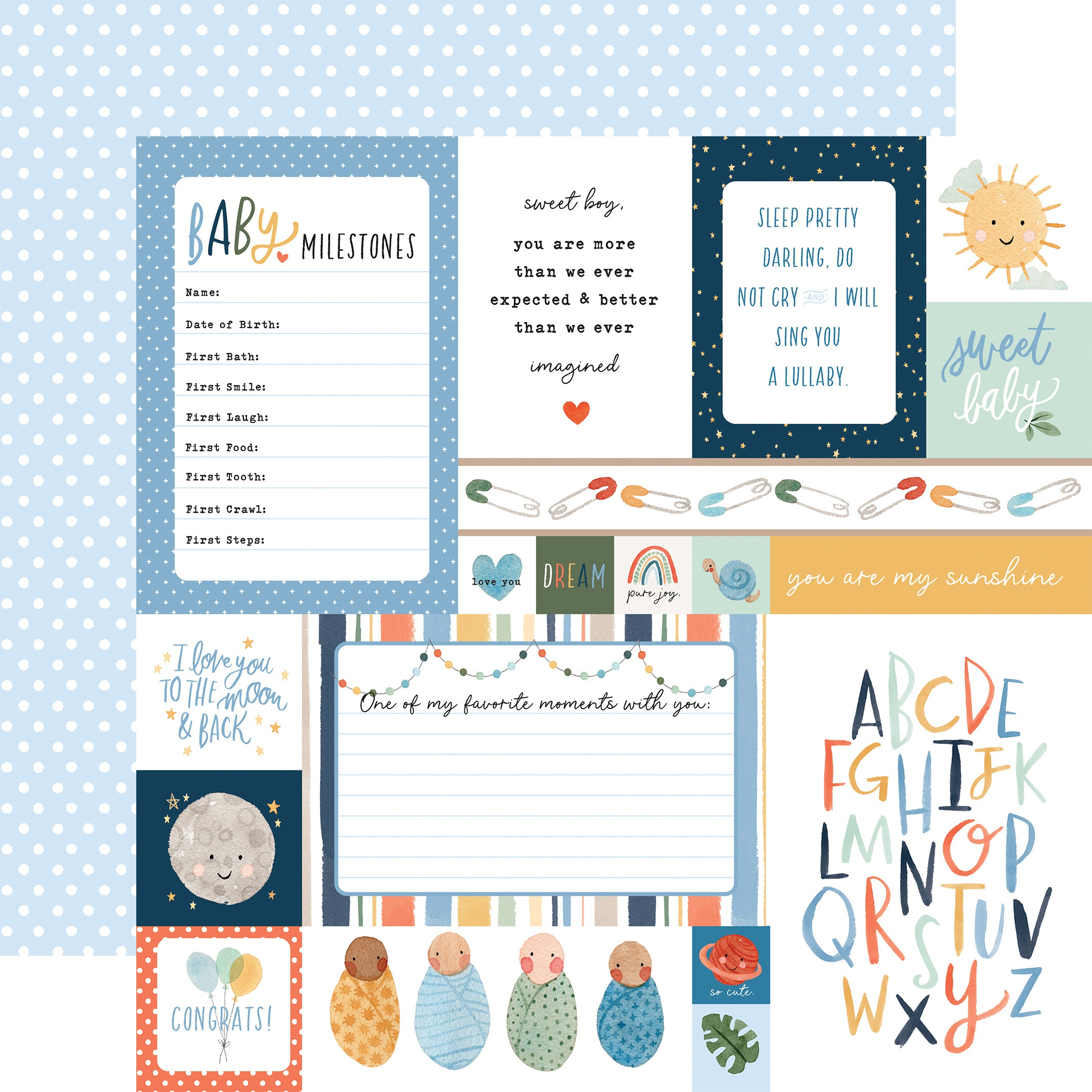 Echo Park - Welcome Baby Boy - MULTI JOURNALING CARDS - 12x12 Double-Sided Paper