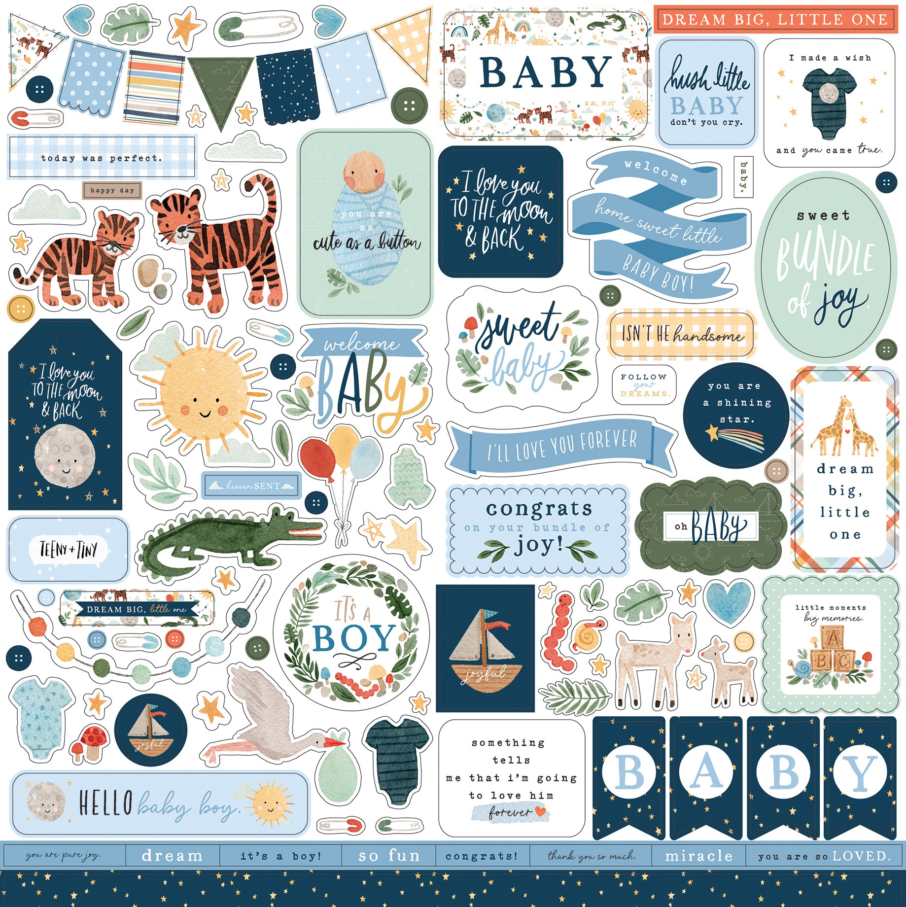 Echo Park - Welcome Baby Boy - 12x12 Element Sticker Sheet