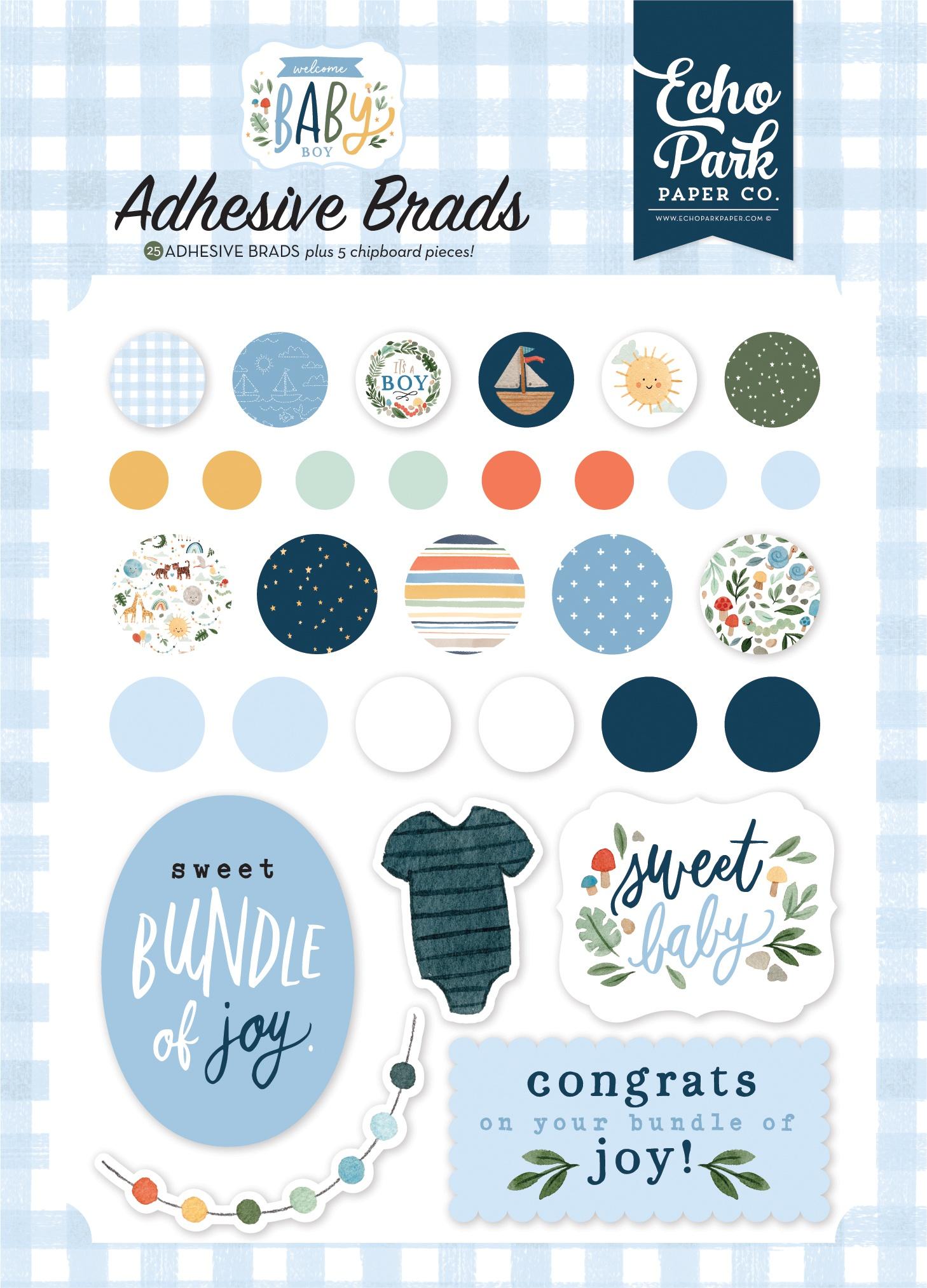 Echo Park - Welcome Baby Boy - Adhesive Brads
