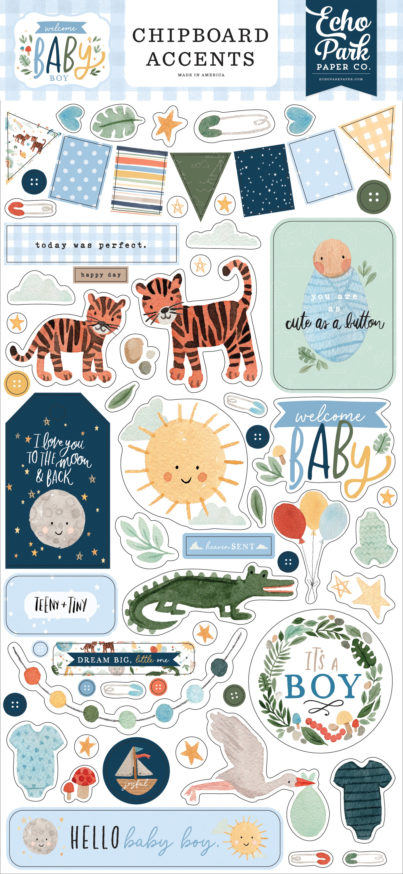 Welcome Baby Boy Chipboard 6X13-Accents