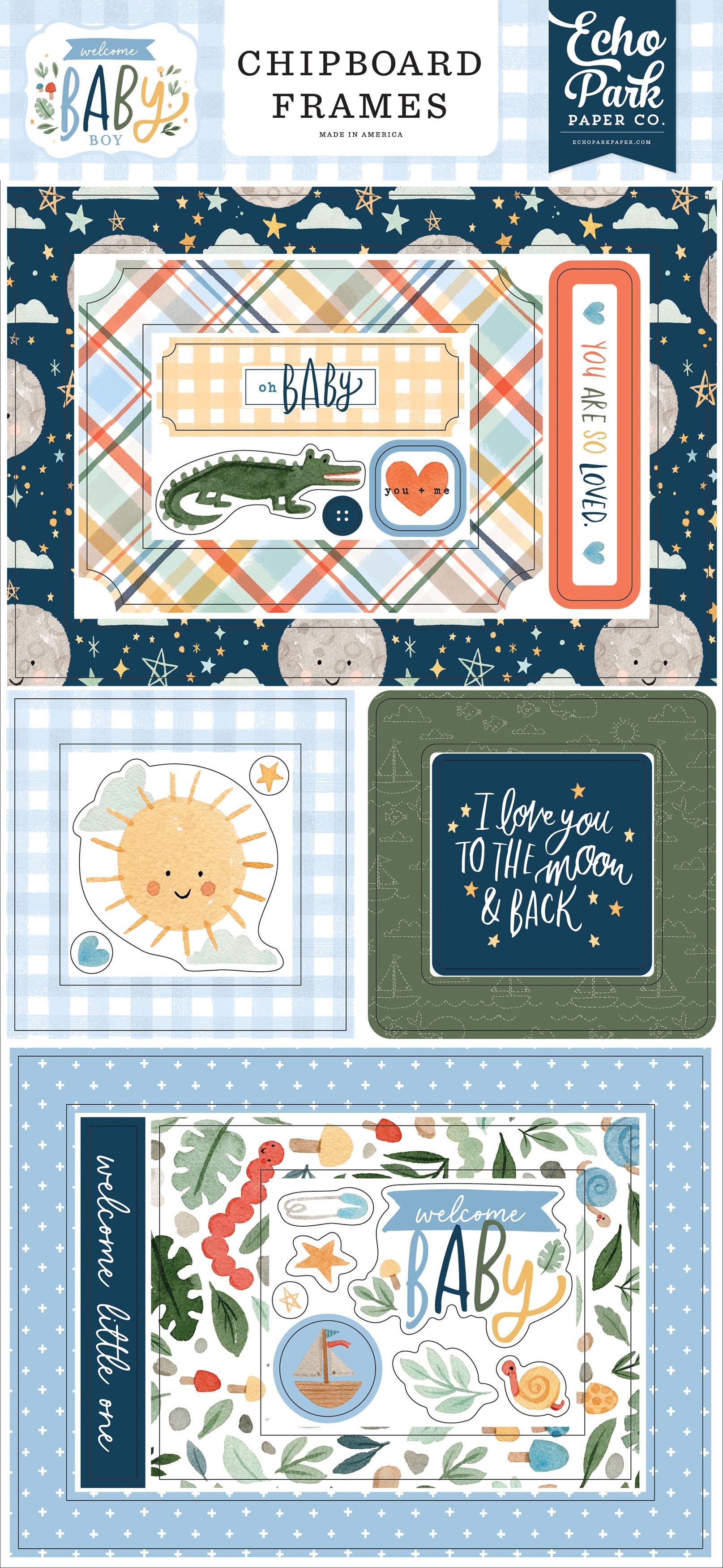 Echo Park - Welcome Baby Boy - Chipboard Frames