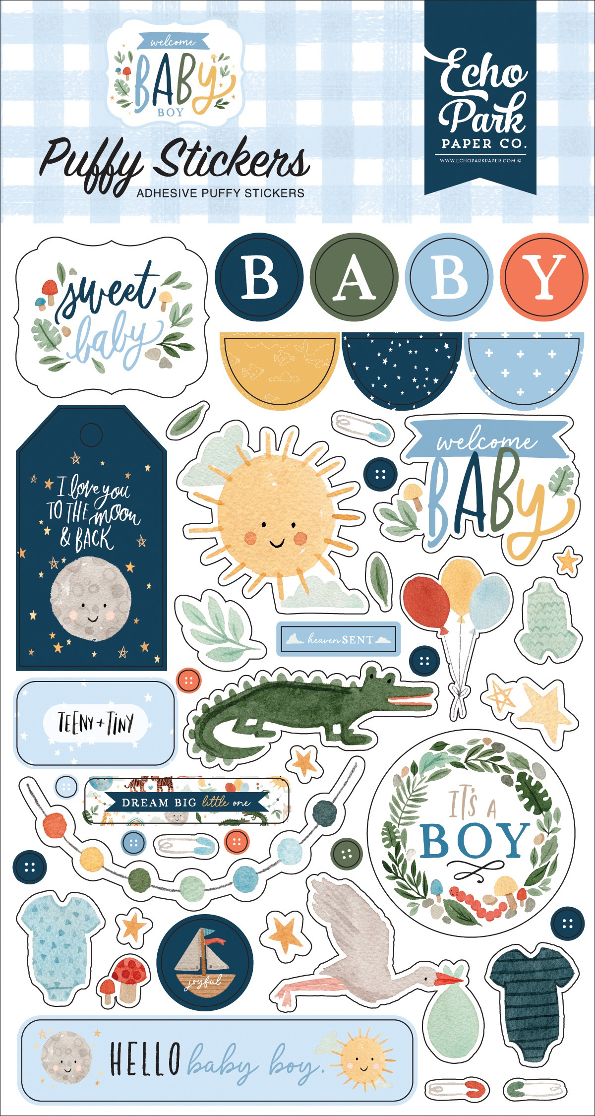 Welcome Baby Boy Puffy Stickers-