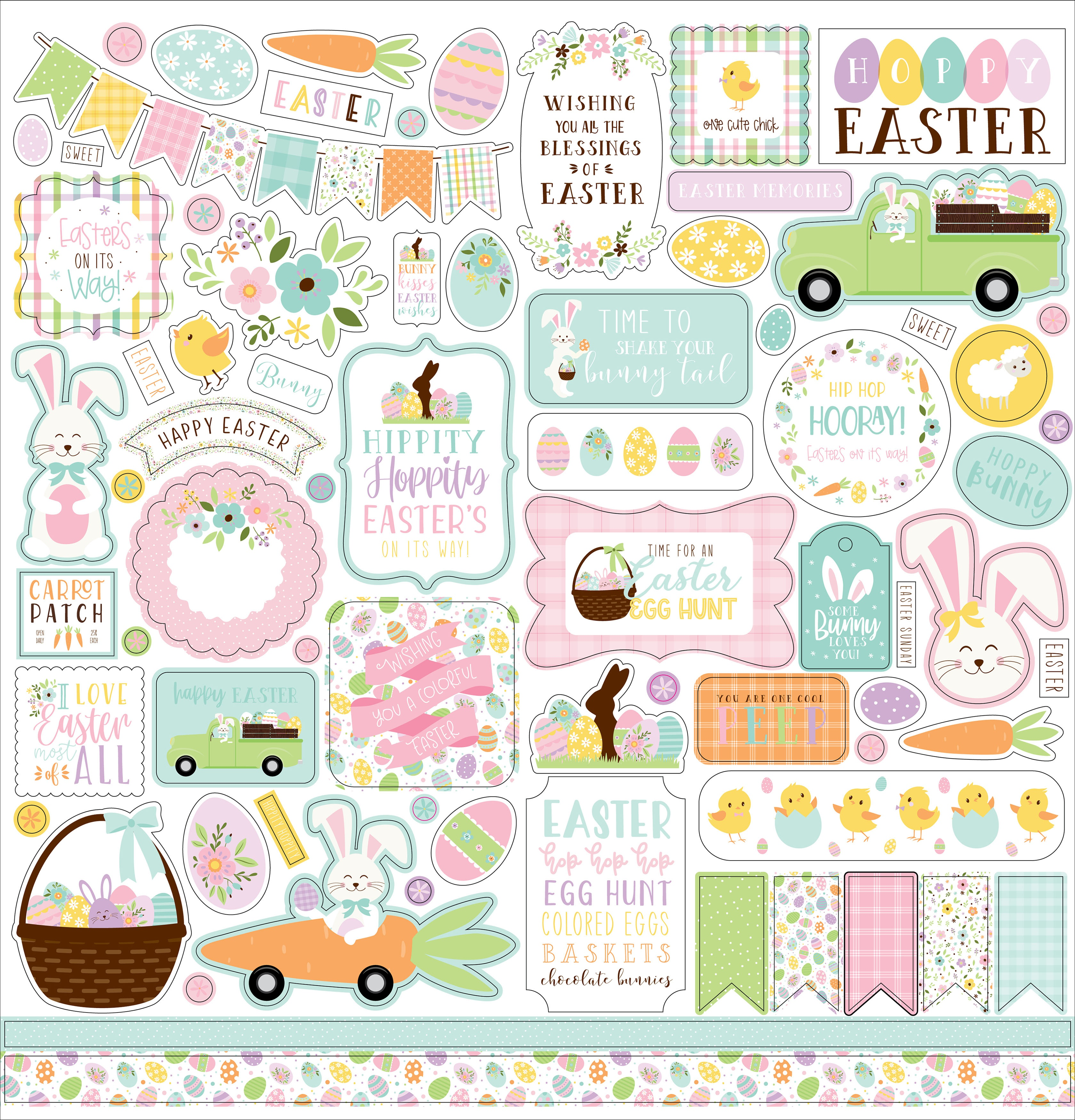 Welcome Easter Cardstock Stickers 12X12-Elements