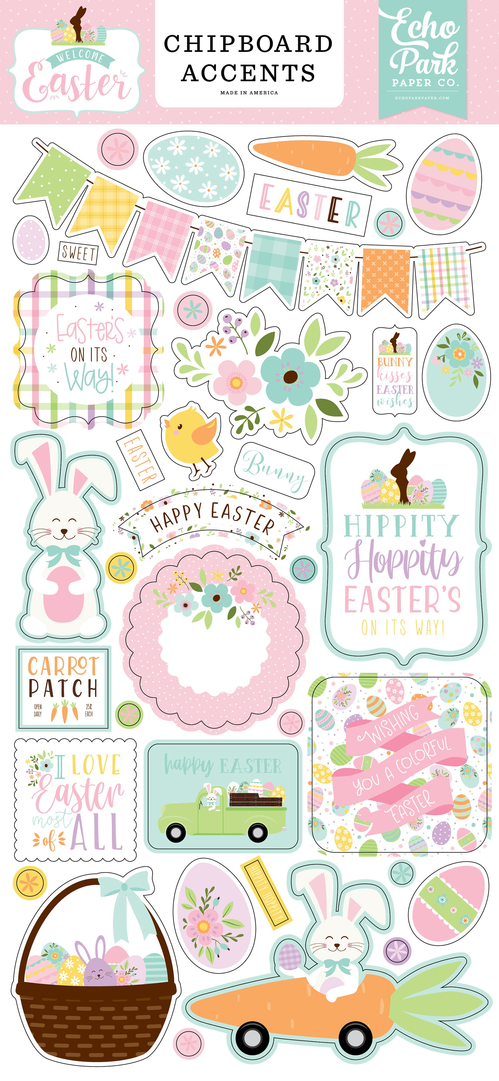Welcome Easter Chipboard 6X13-Accents