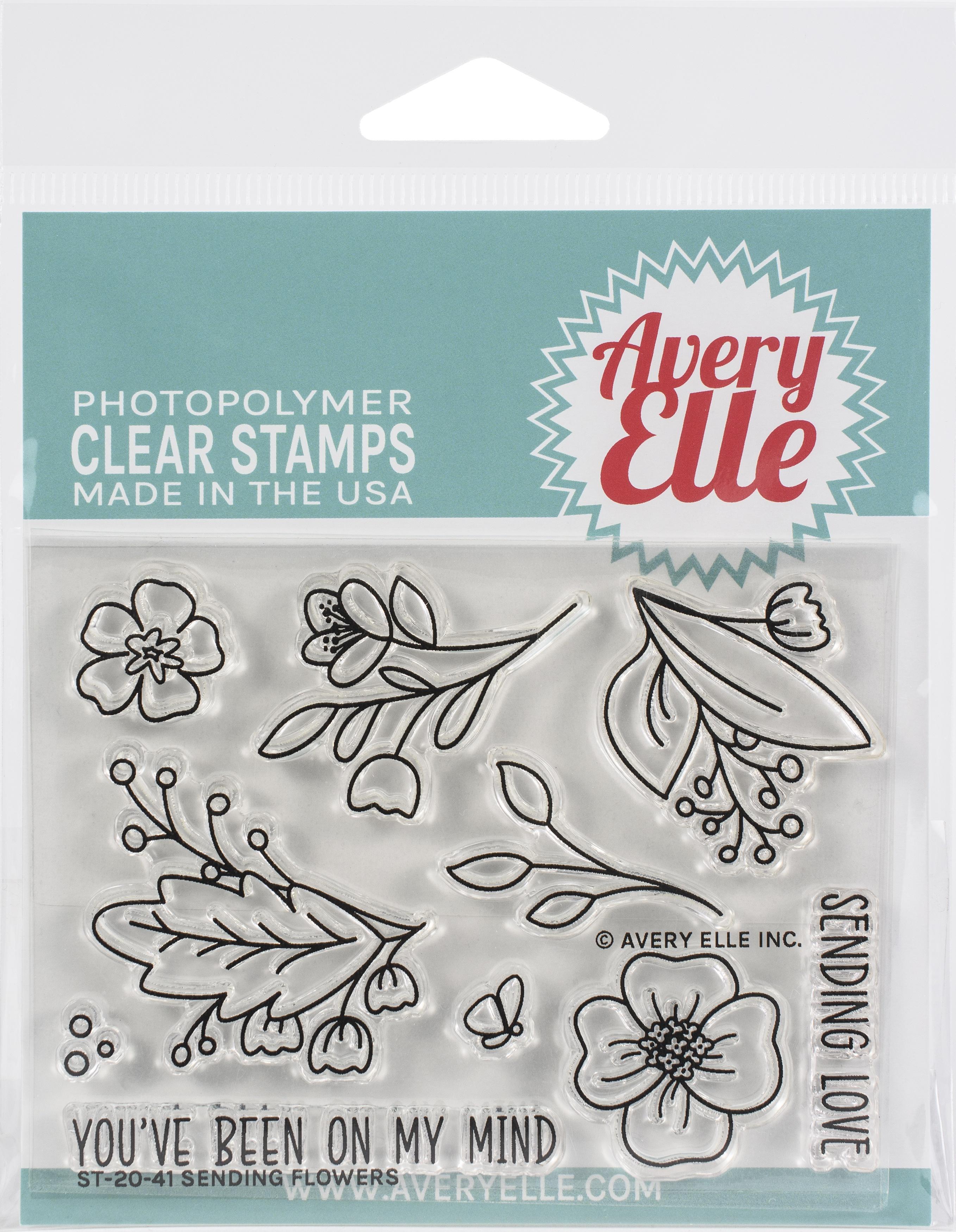 Avery Elle Clear Stamp Set 4X3-Sending Flowers