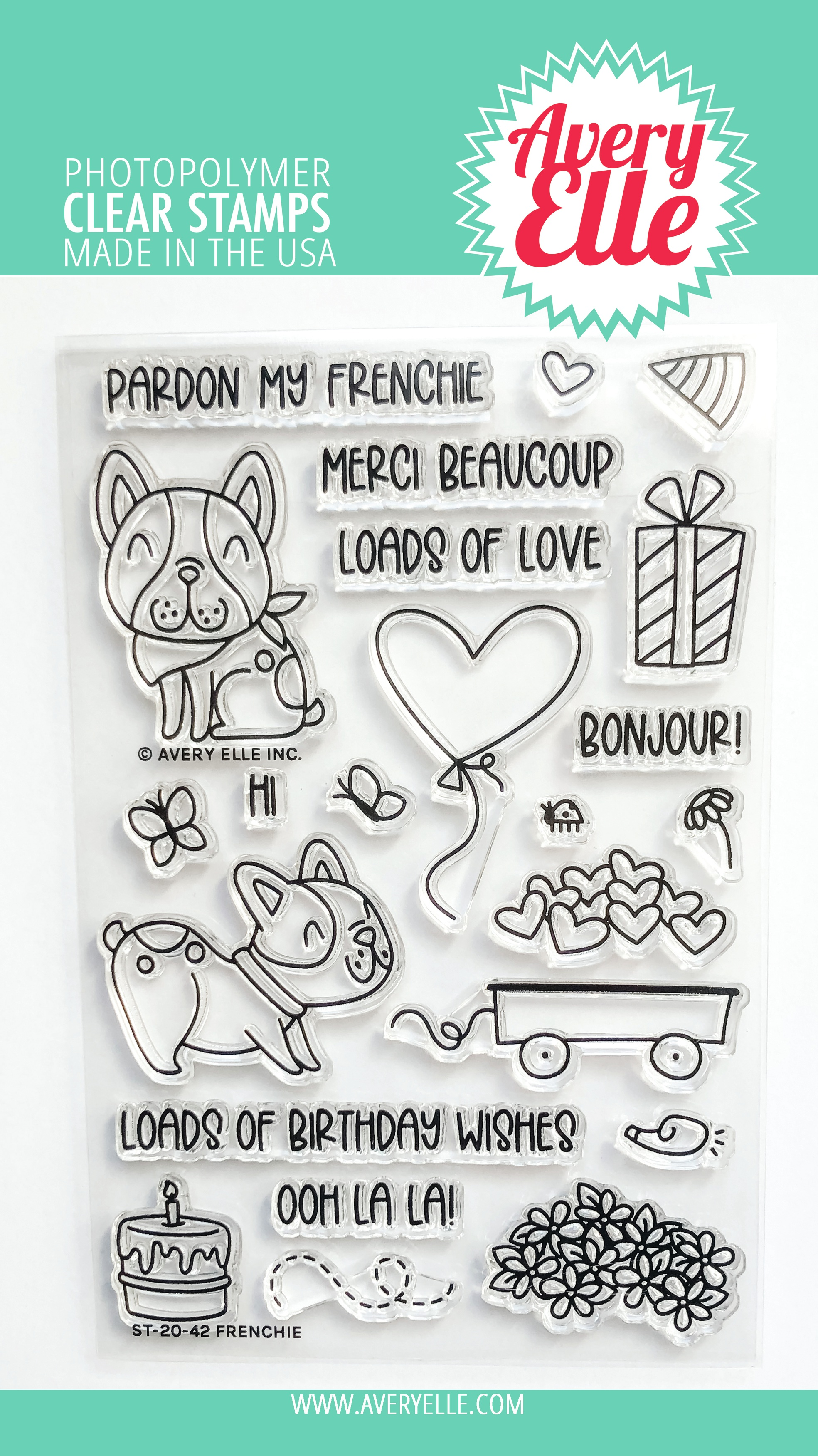 Avery Elle Clear Stamp Set 4X6-Frenchie