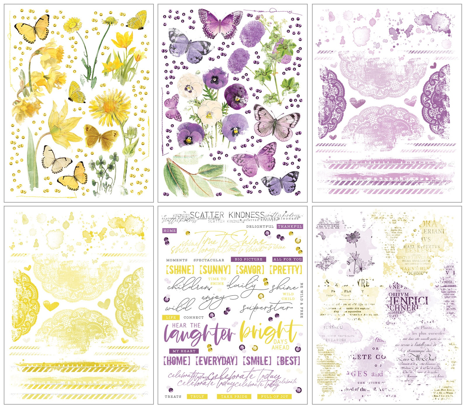 Vintage Artistry Rub-Ons 6X8 6/Sheets-Butter/Lilac