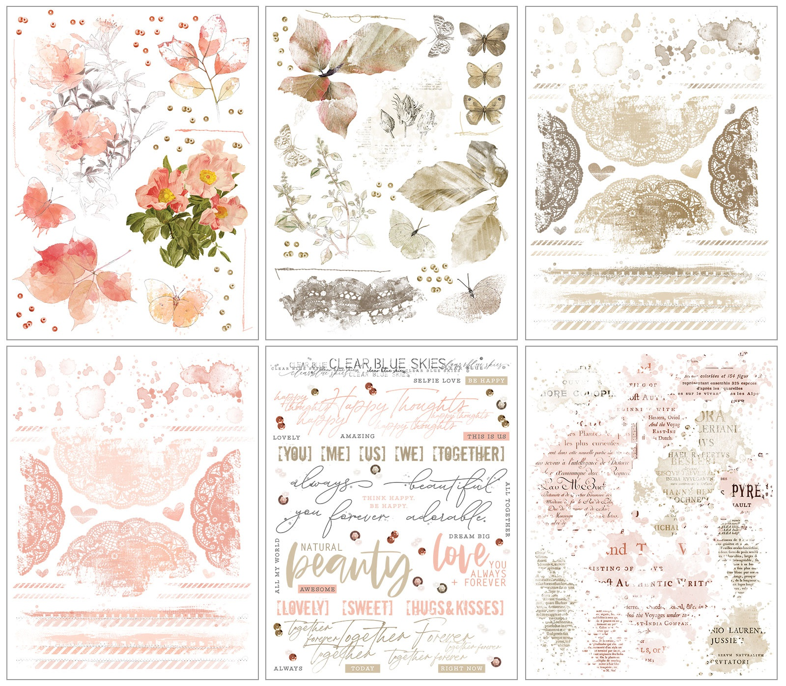 Vintage Artistry Rub-Ons 6X8 6/Sheets-Coral/Natural