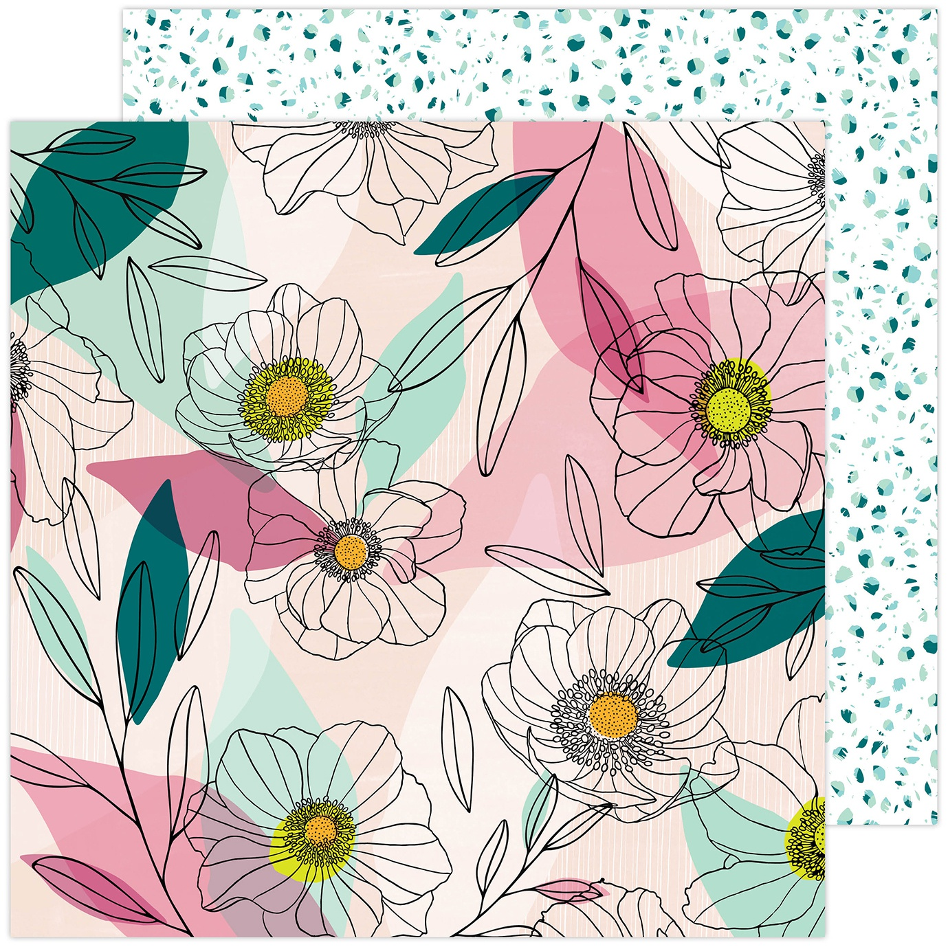 Amy Tan Brave & Bold Double-Sided Cardstock 12X12-Anemone