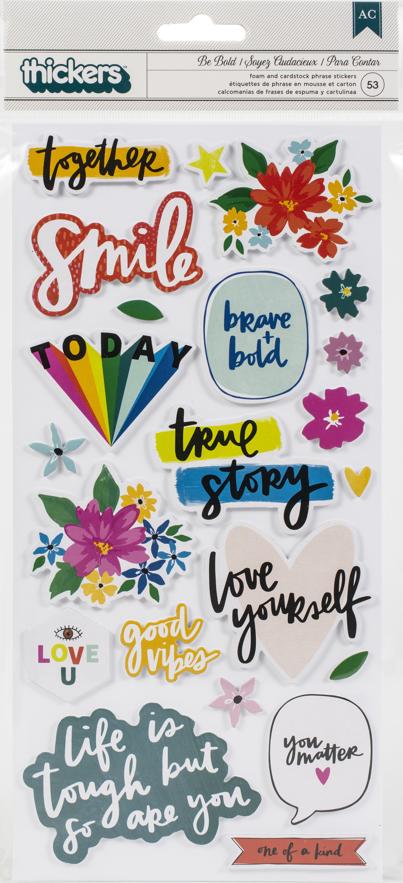 Amy Tan Brave & Bold Thickers Stickers 53/Pkg-Be Bold Phrase/Foam