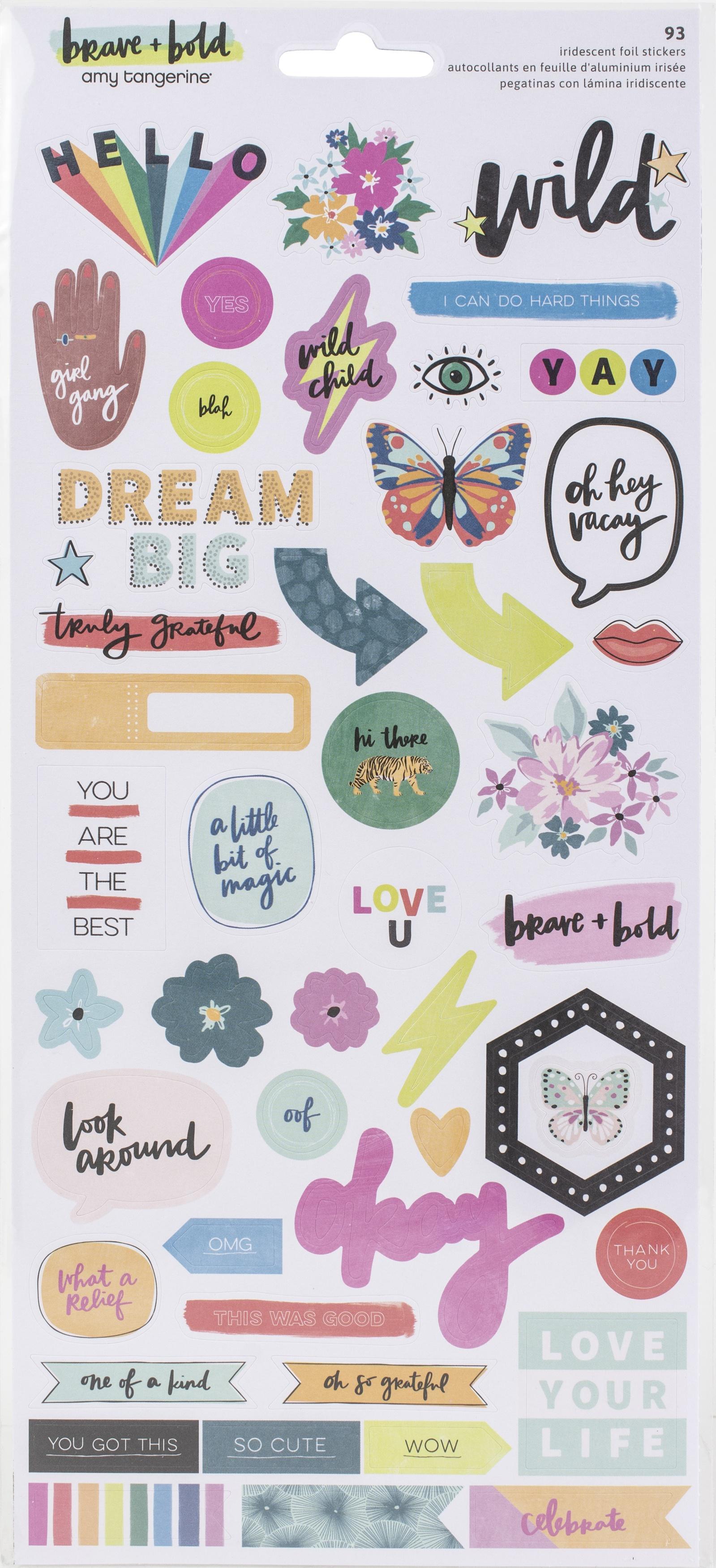 Amy Tan Brave & Bold Cardstock Stickers 93/Pkg-W/Foil Accents
