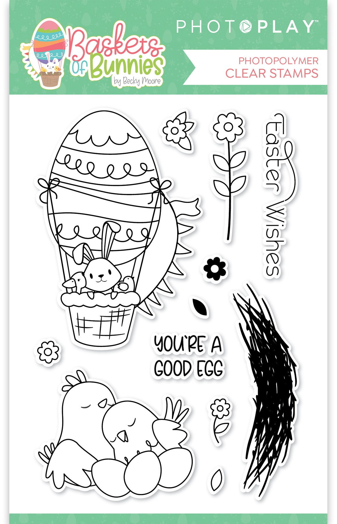 PhotoPlay Photopolymer Stamp-Baskets Of Bunnies