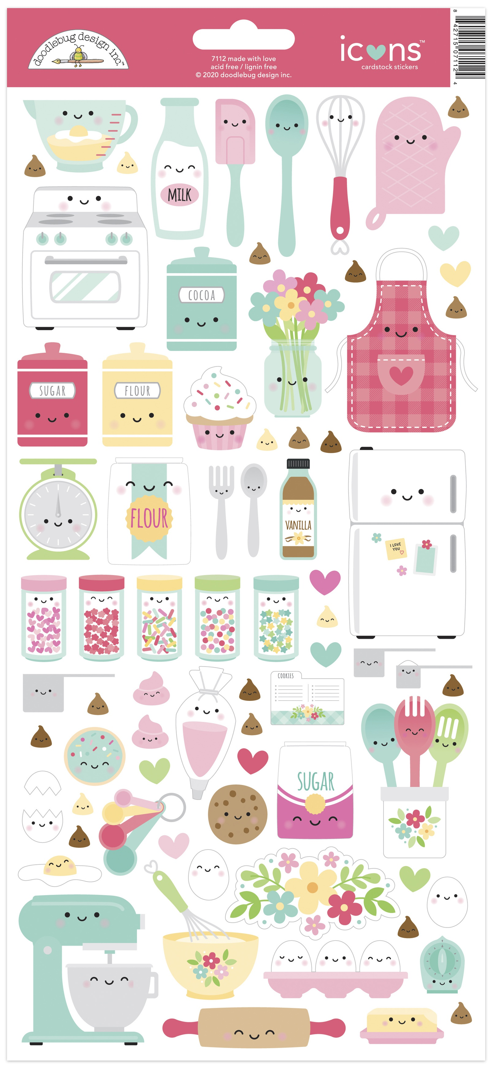 Doodlebug Cardstock Stickers 6X13-Made With Love Icons