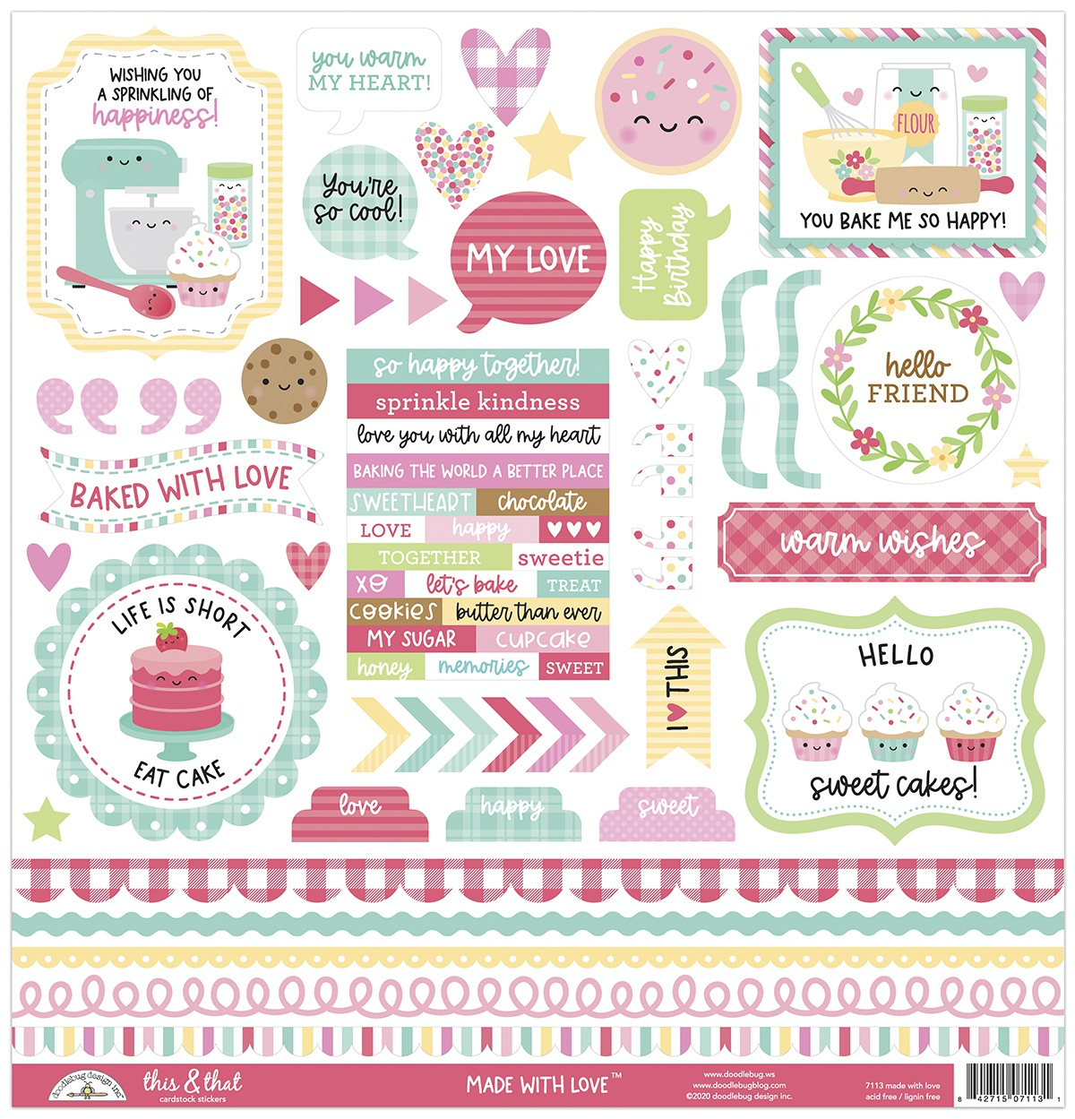 Doodlebug This & That Cardstock Stickers 12X12-Made With Love