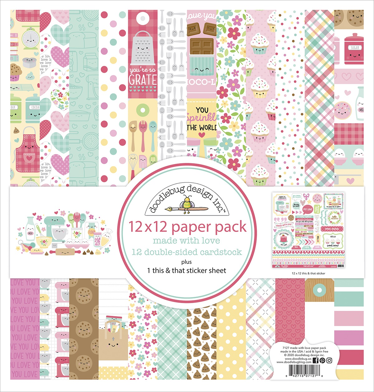Doodlebug Double-Sided Paper Pack 12X12 12/Pkg-Made With Love