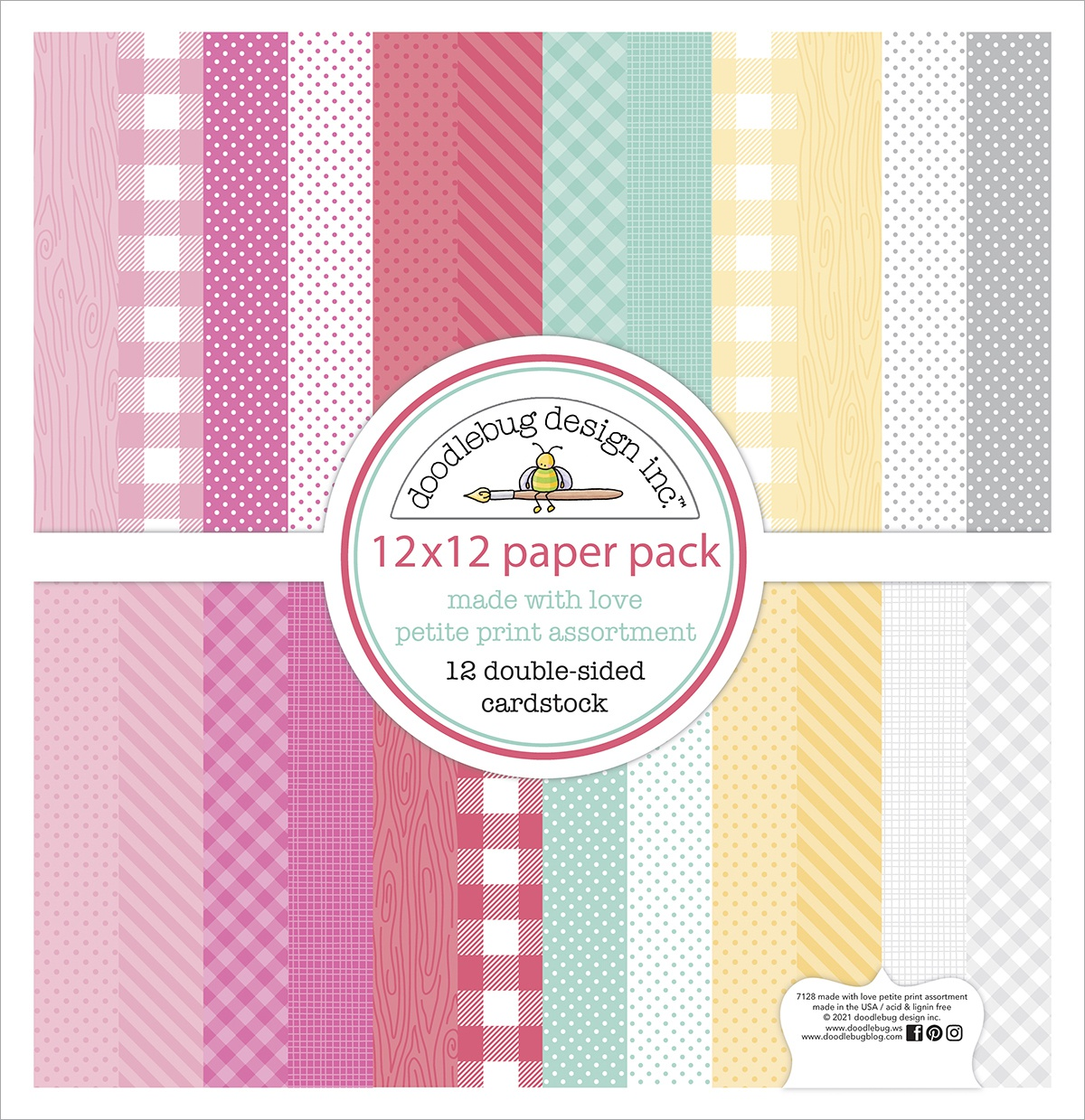 Doodlebug Petite Prints Double-Sided Cardstock 12X12 12/Pk-Made With Love, 12 ...