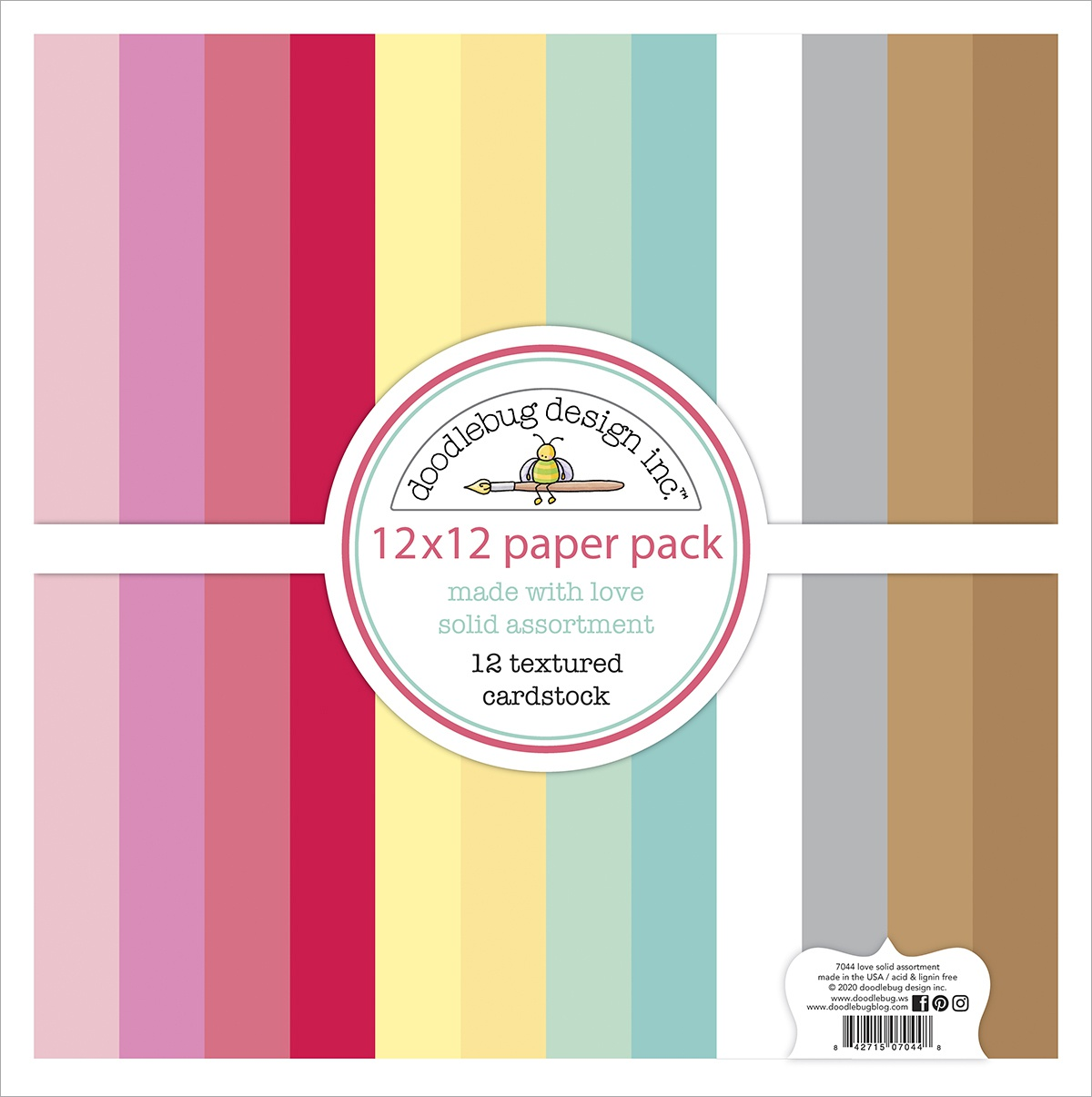 Doodlebug Textured Double-Sided Cardstock 12X12 Pack-Made With Love