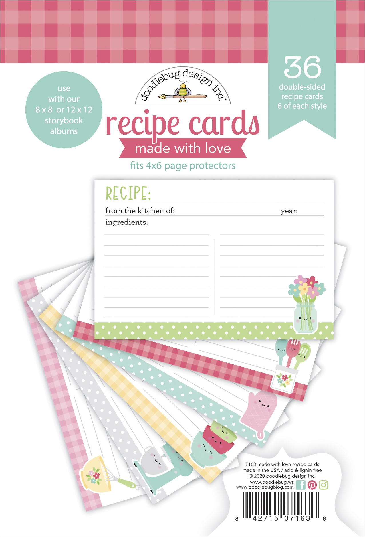 Doodlebug Double-Sided Paper Pad 36/Pkg-Made With Love Recipe Cards, 6 Designs
