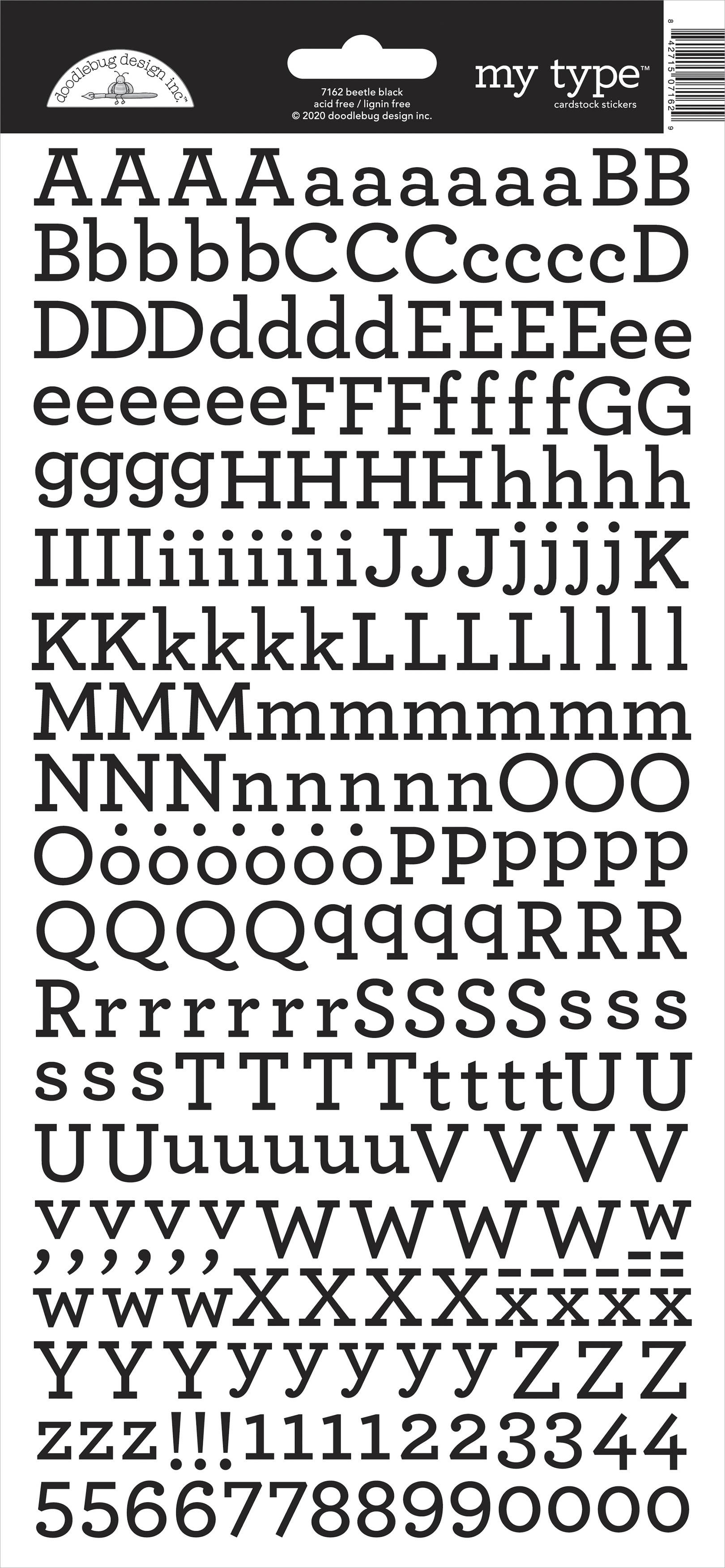 Doodlebug My Type Cardstock Stickers 6X13-Beetle Black