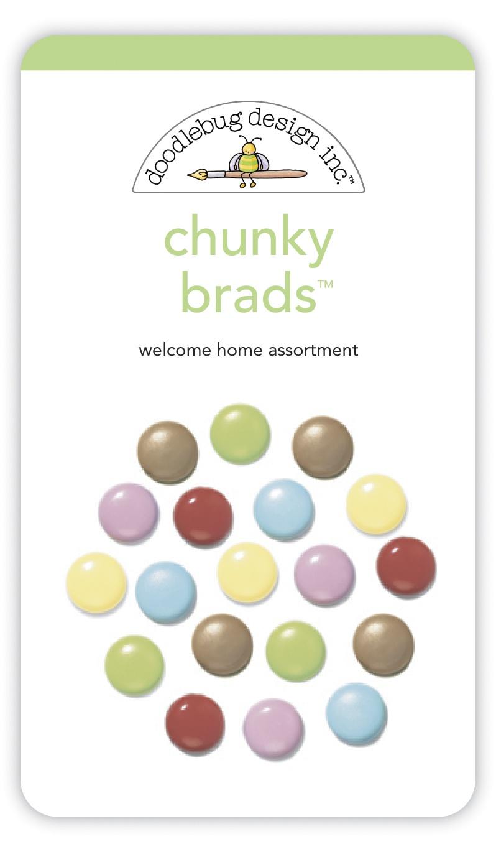 Doodlebug Chunky Brads 40/Pkg-Welcome Home Assortment