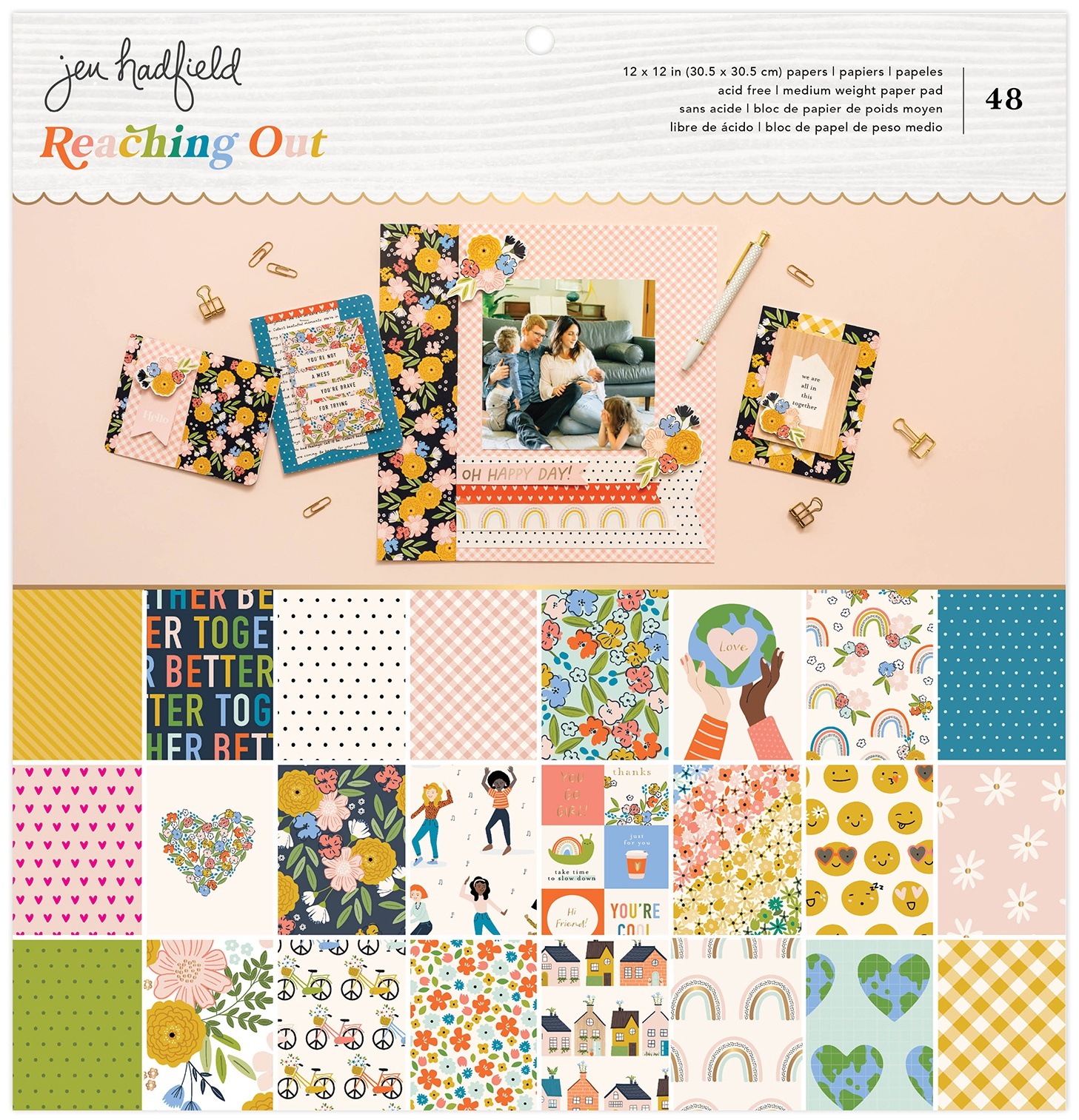 American Crafts Single-Sided Paper Pad 12X12 48/Pkg-Jen Hadfield Reaching Out