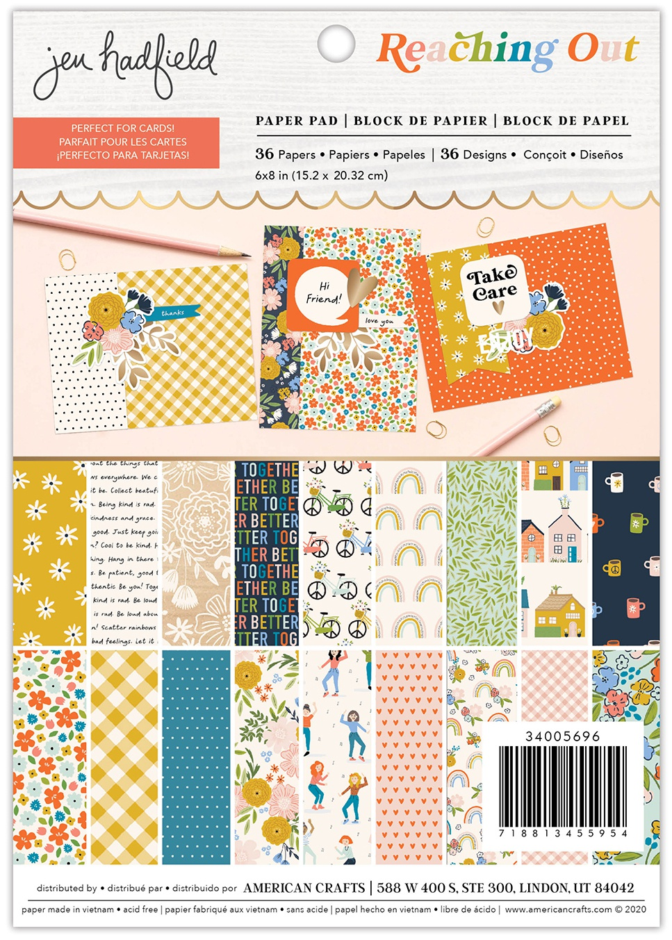 American Crafts Single-Sided Paper Pad 6X8 36/Pkg-Jen Hadfield Reaching Out
