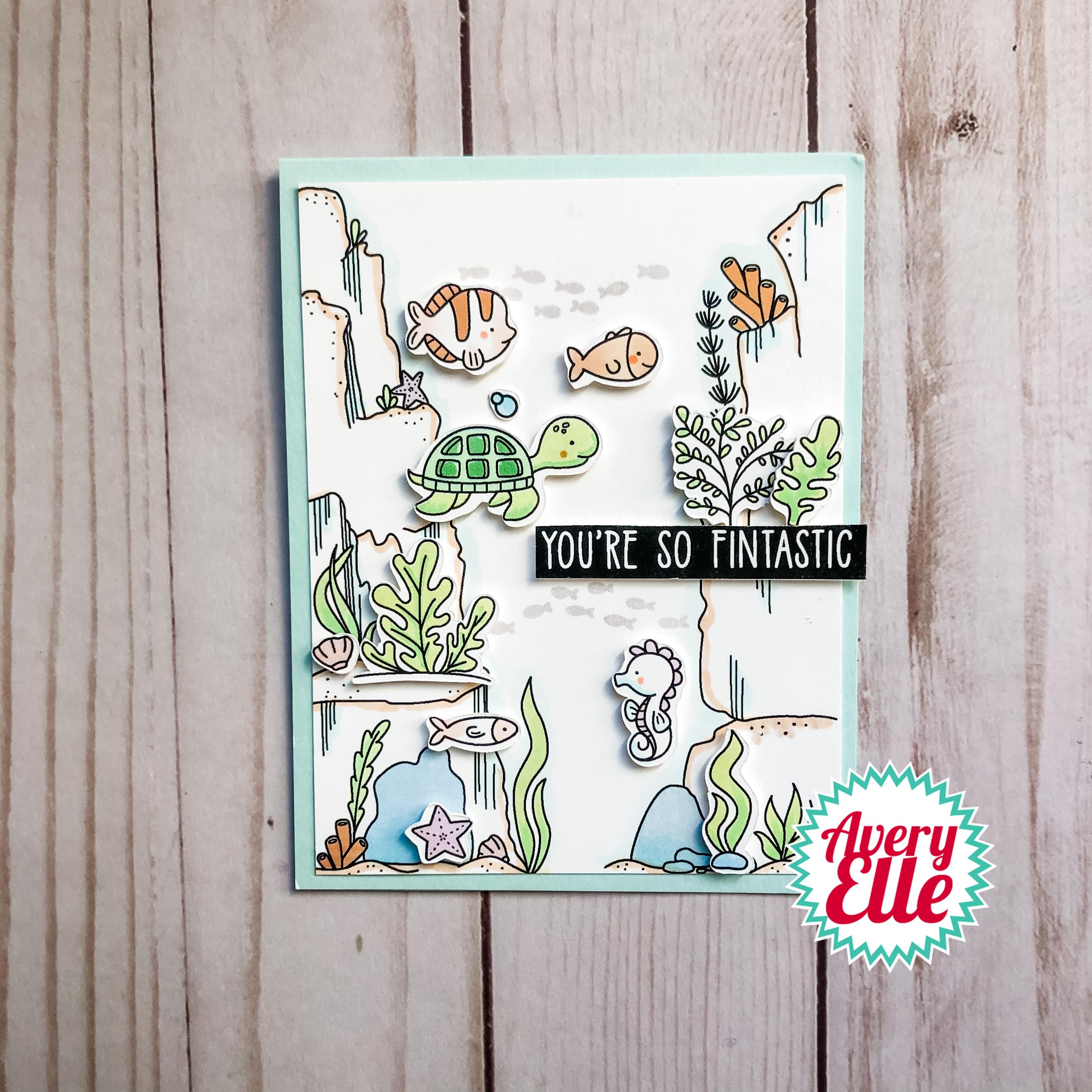 Avery Elle Clear Stamp Set 4X6-Underwater Background Builder