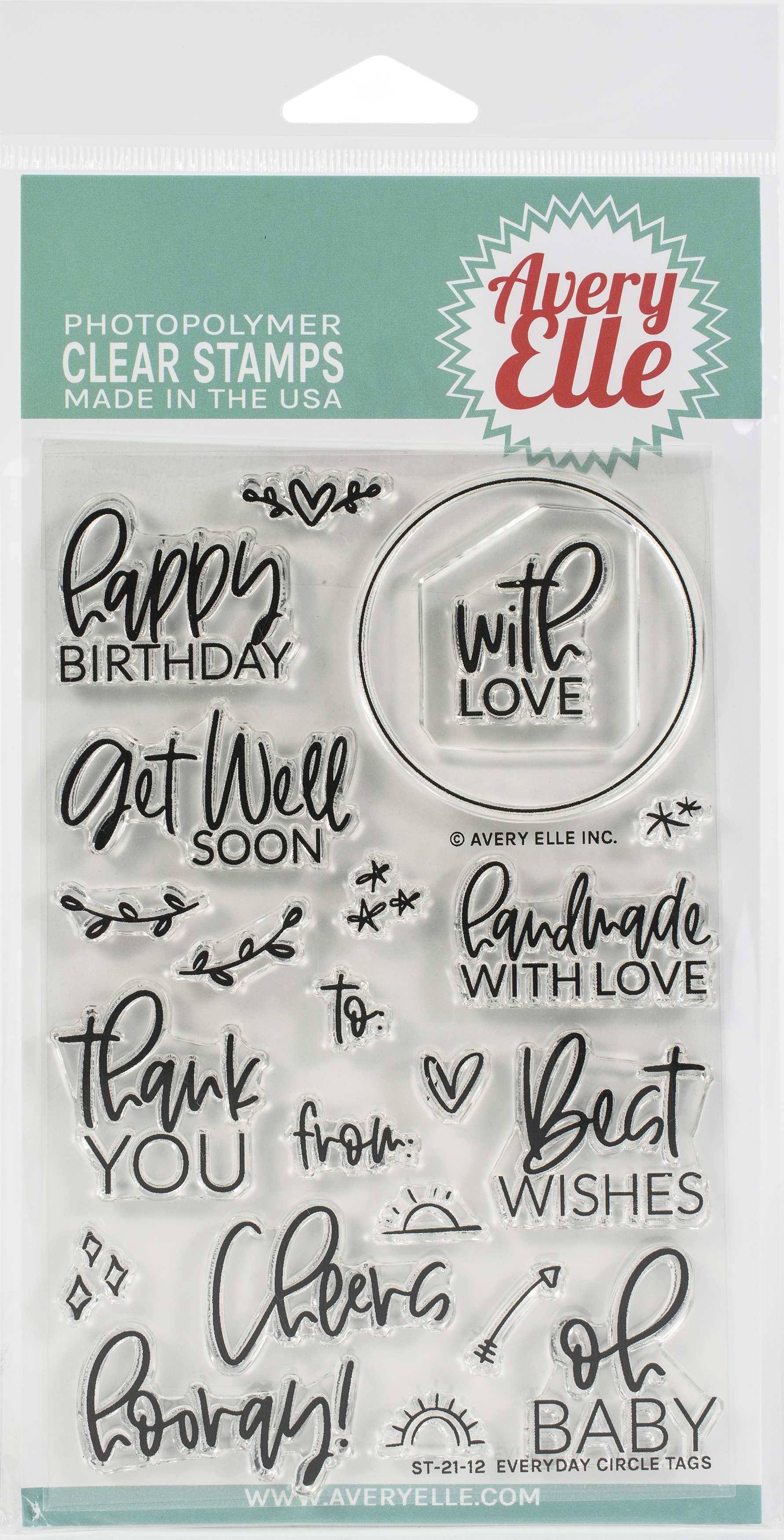 Avery Elle Clear Stamp Set 4X6 Everyday Circle Tags