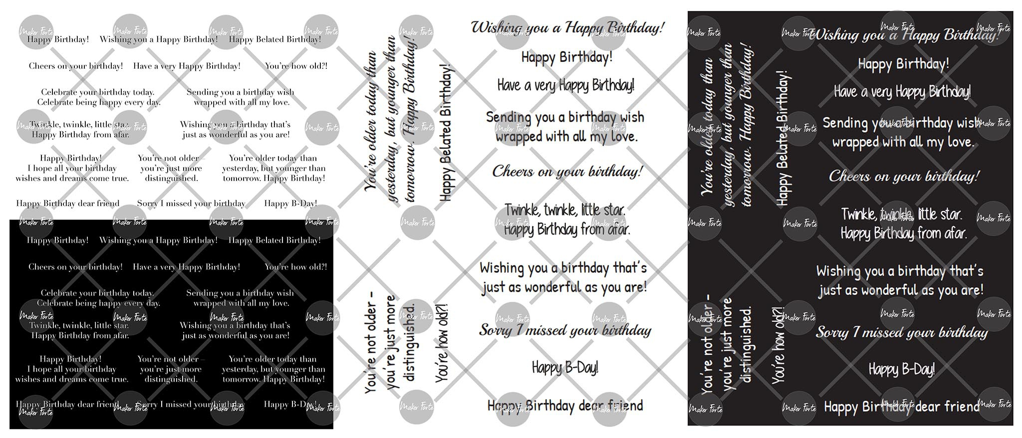 Maker Forte Simple Sayings Cardstock 8.5X11 3/Pkg-Birthday
