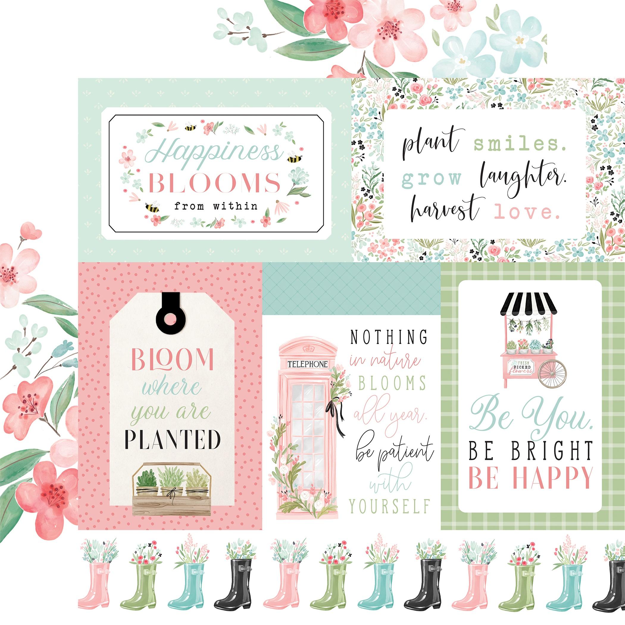 Carta Bella - Flower Garden - MULTI JOURNALING CARDS - 12x12 Double-Sided Textured Paper