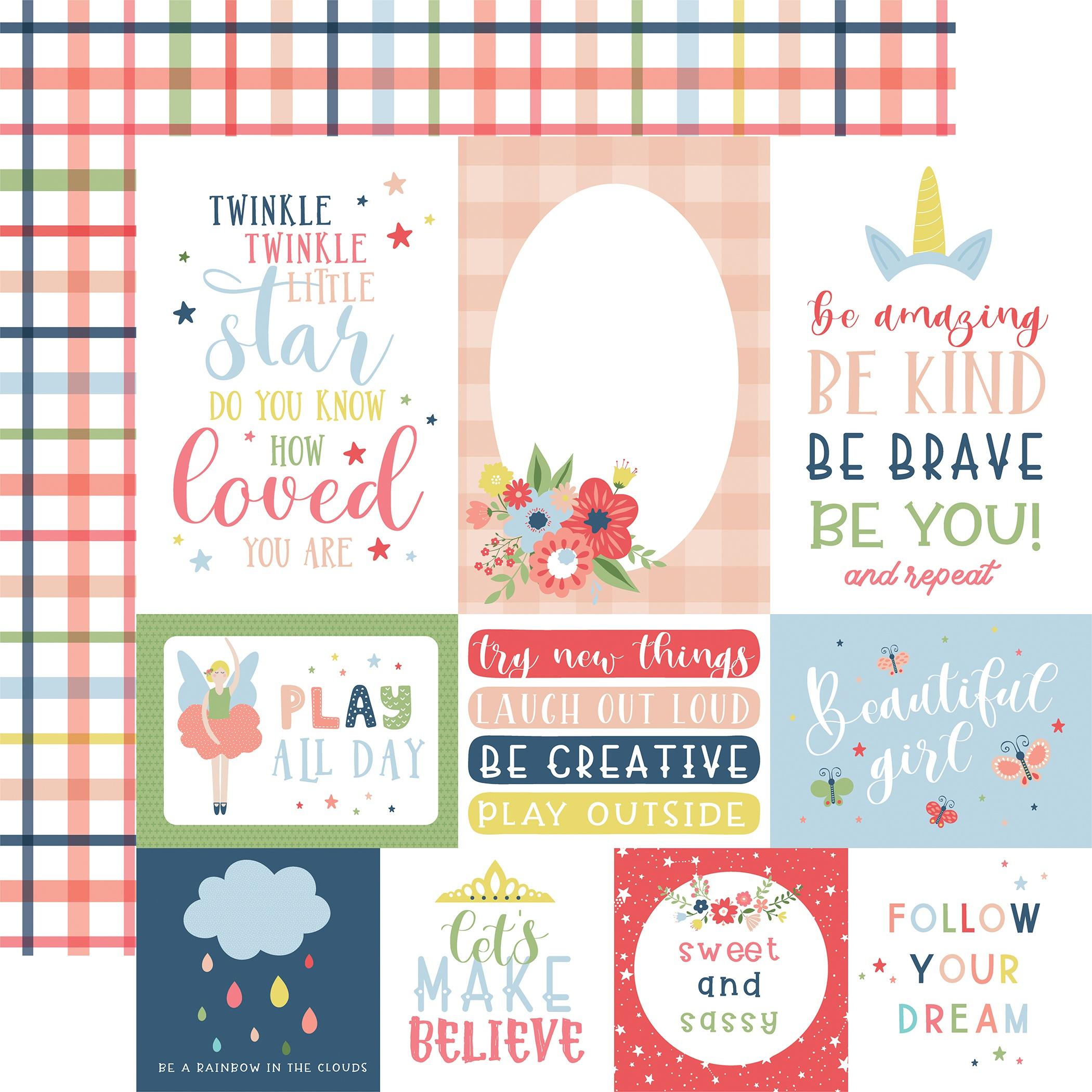 Little Dreamer Girl Double-Sided Cardstock 12X12-Multi Journaling Cards