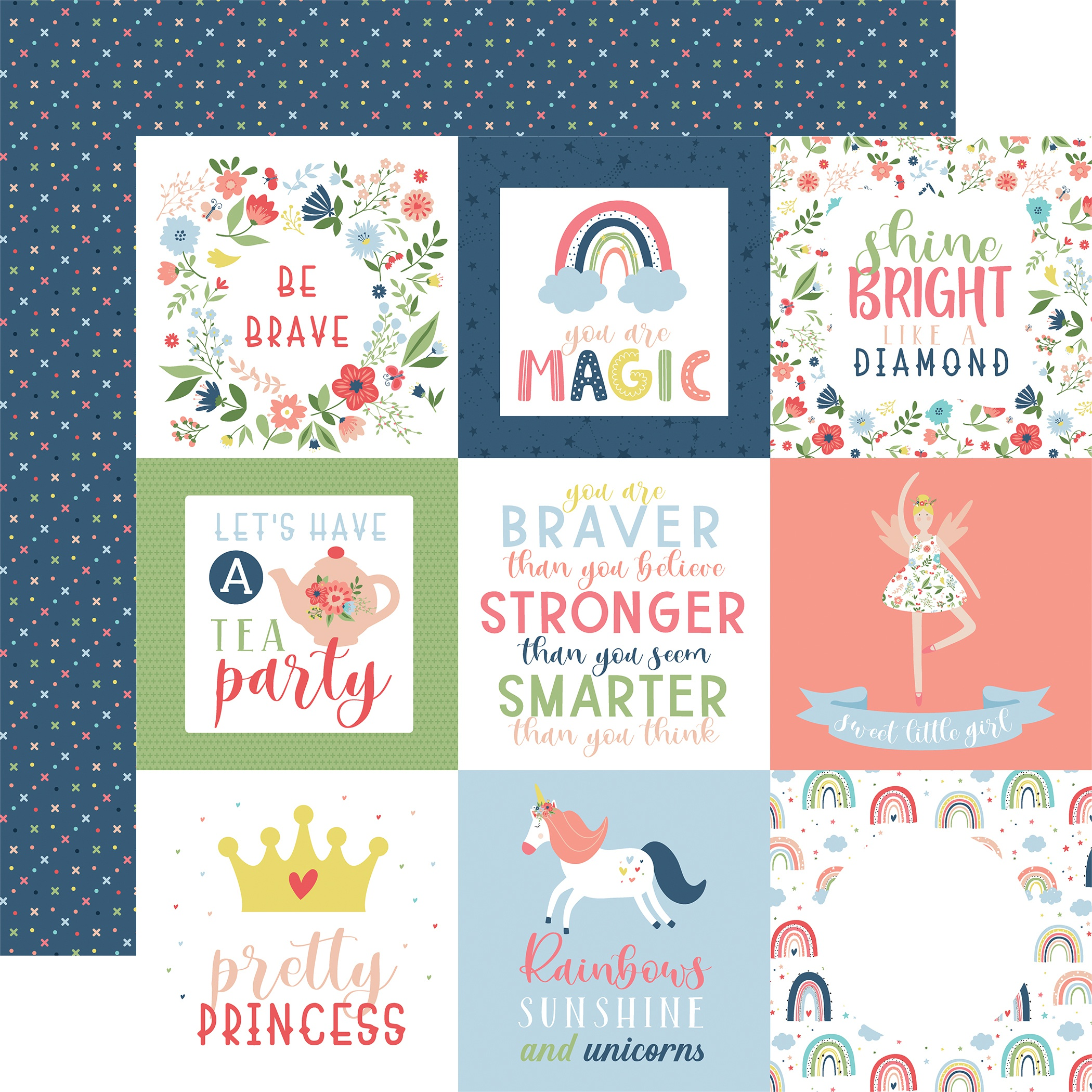 Little Dreamer Girl Double-Sided Cardstock 12X12-4X4 Journaling Cards