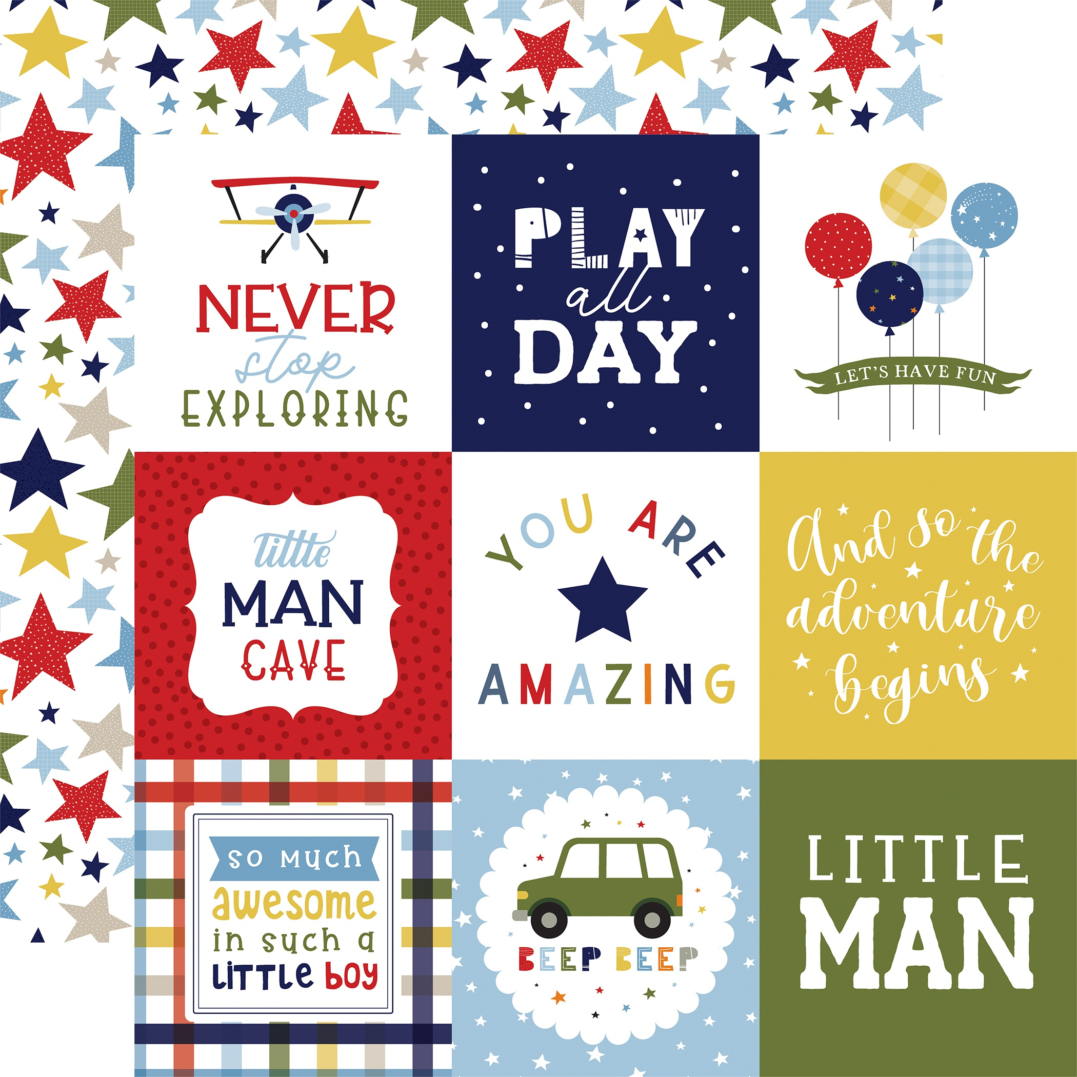 Little Dreamer Boy Double-Sided Cardstock 12X12-4X4 Journaling Cards