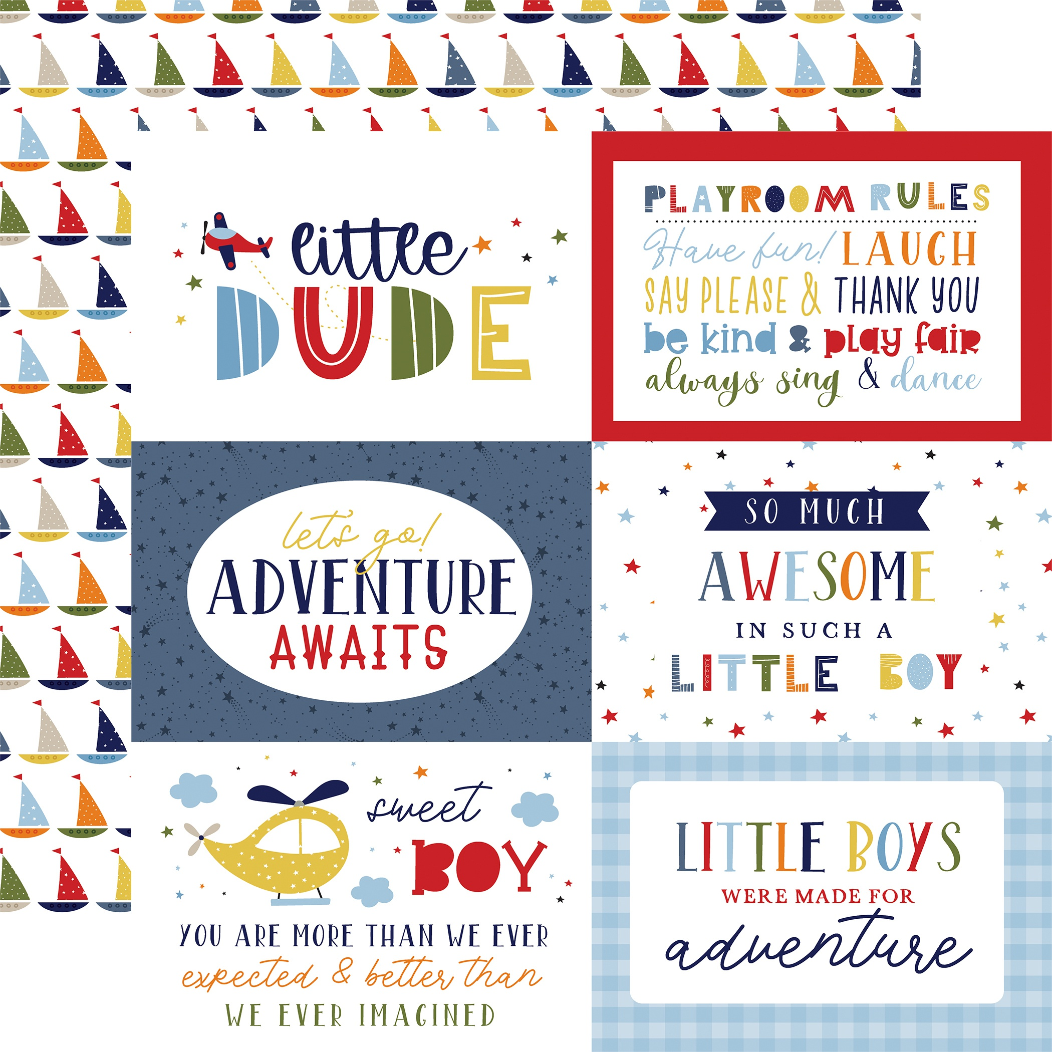 Little Dreamer Boy Double-Sided Cardstock 12X12-6X4 Journaling Cards