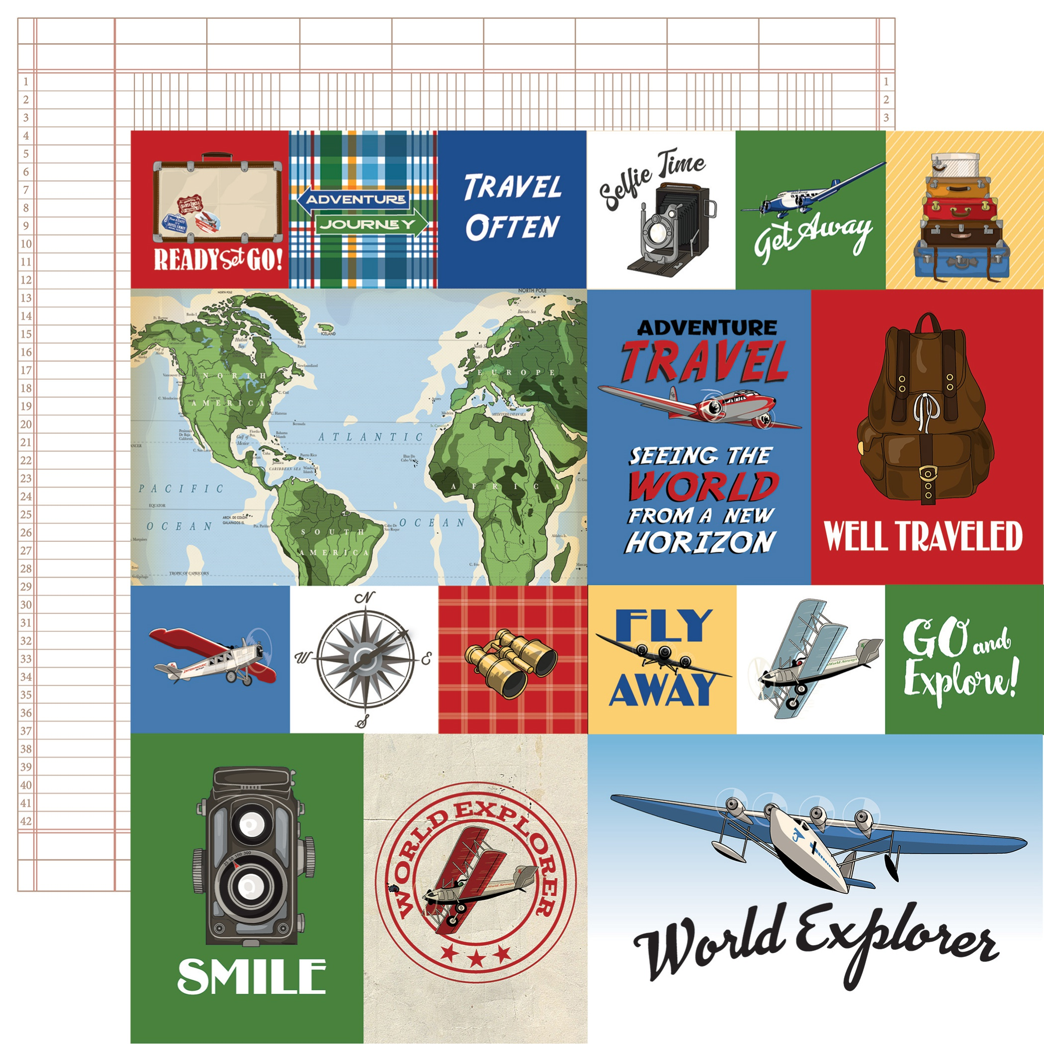 Our Travel Adventure Double-Sided Cardstock 12X12-Journaling Cards