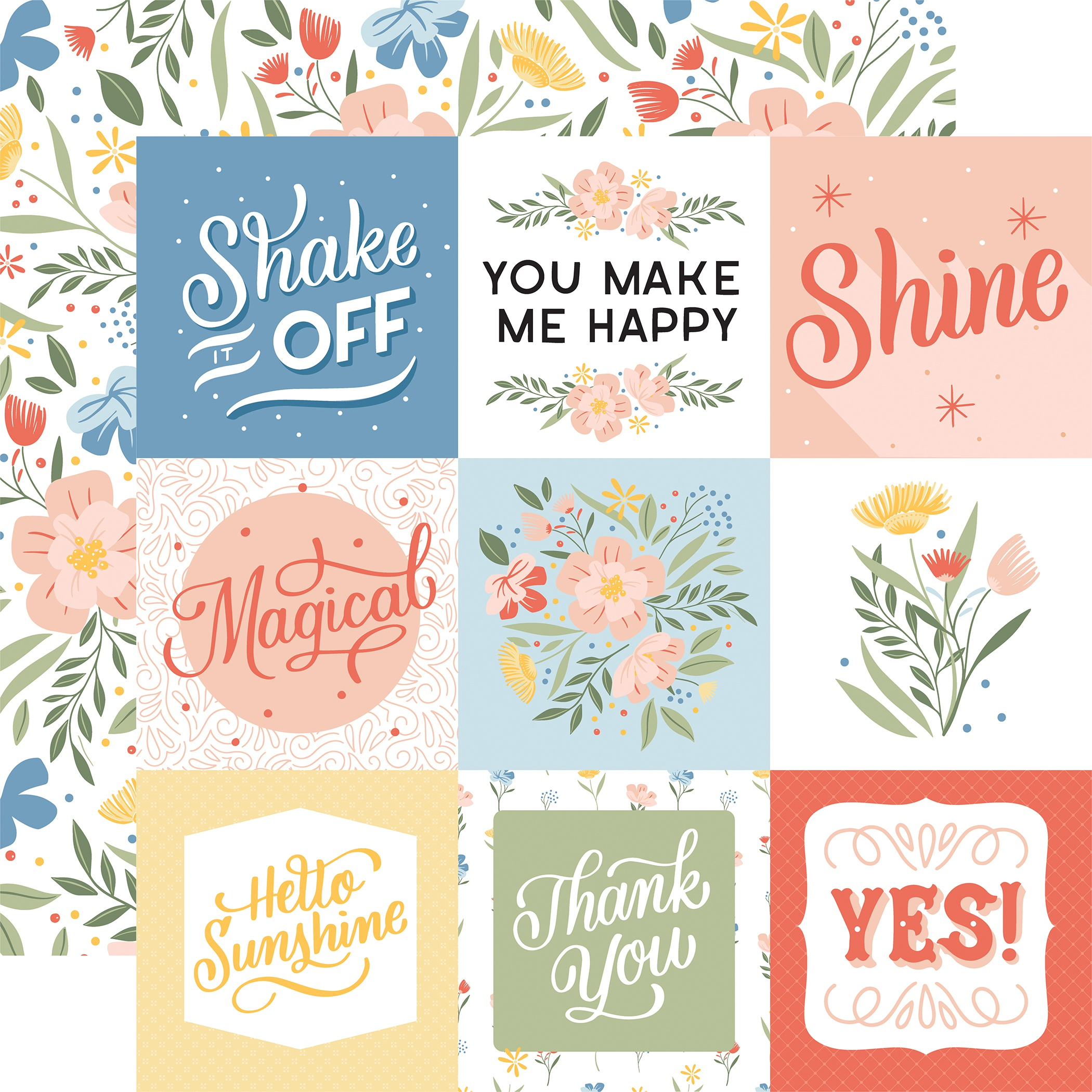 ^Echo Park - Salutations No.1 - 4x4 JOURNALING CARDS - 12x12 Double-Sided Paper