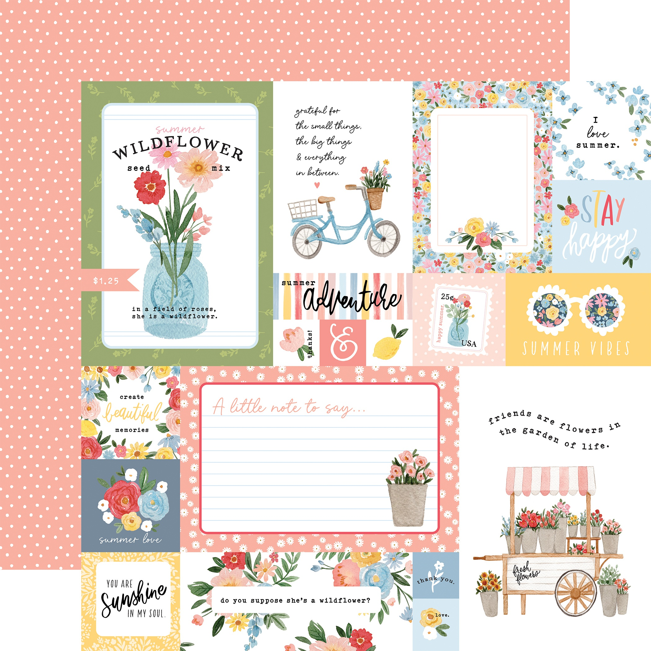 Carta Bella - Summer - MULTI JOURNALING CARDS - 12x12 Double-Sided Textured Cardstock
