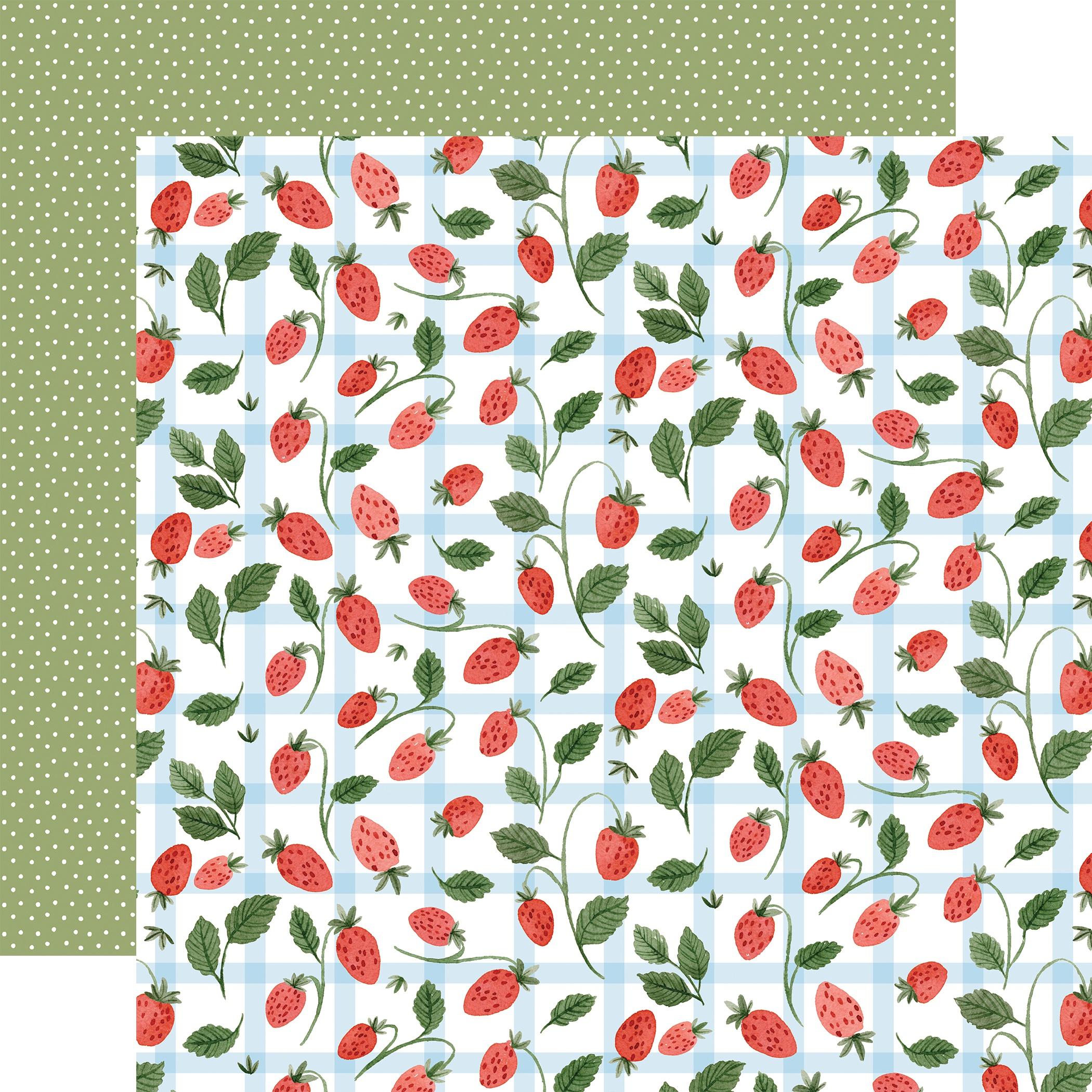 Carta Bella - Summer - SUMMER STRAWBERRIES - 12x12 Double-Sided Textured Cardstock