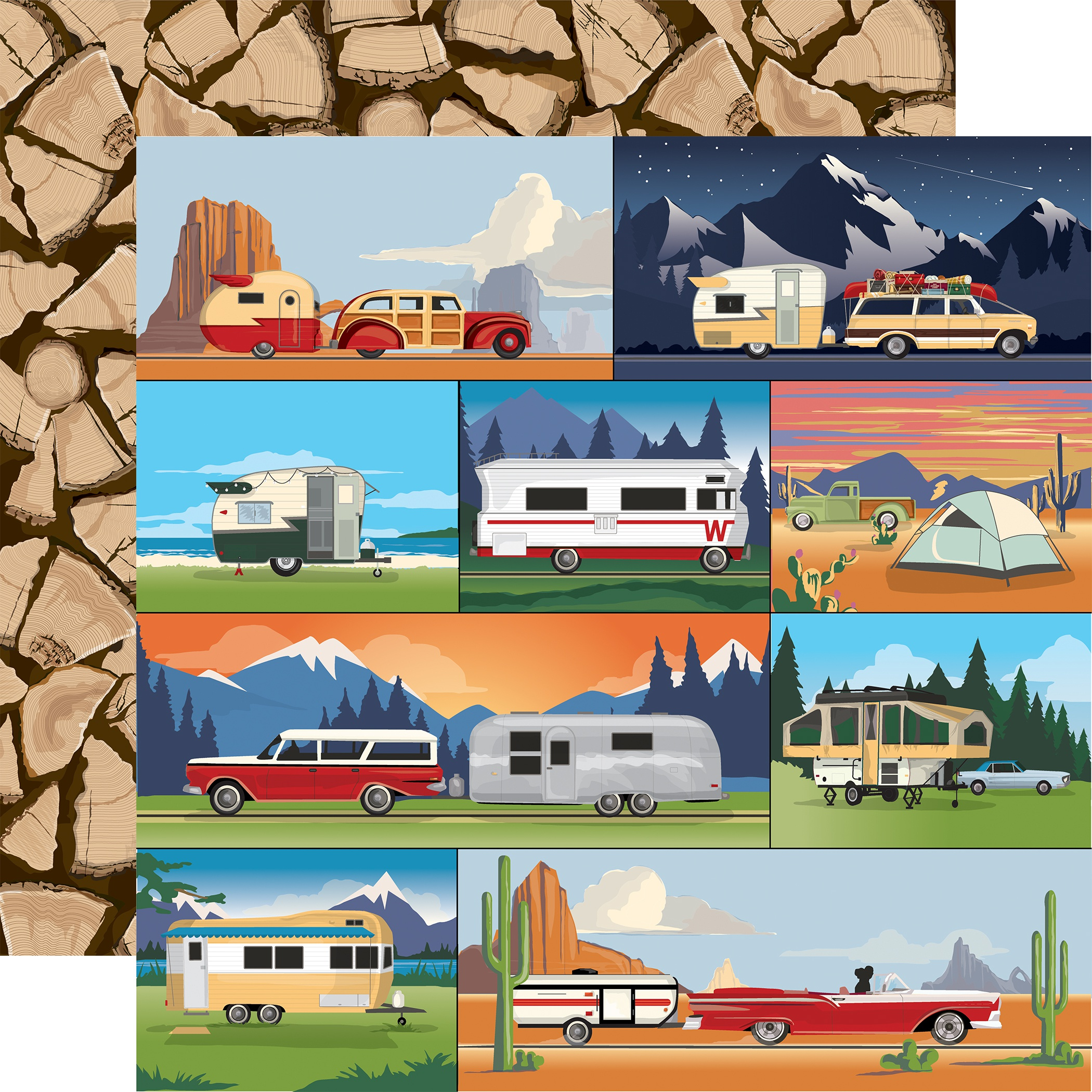 Outdoor Adventures Double-Sided Cardstock 12X12-Camp Trailers