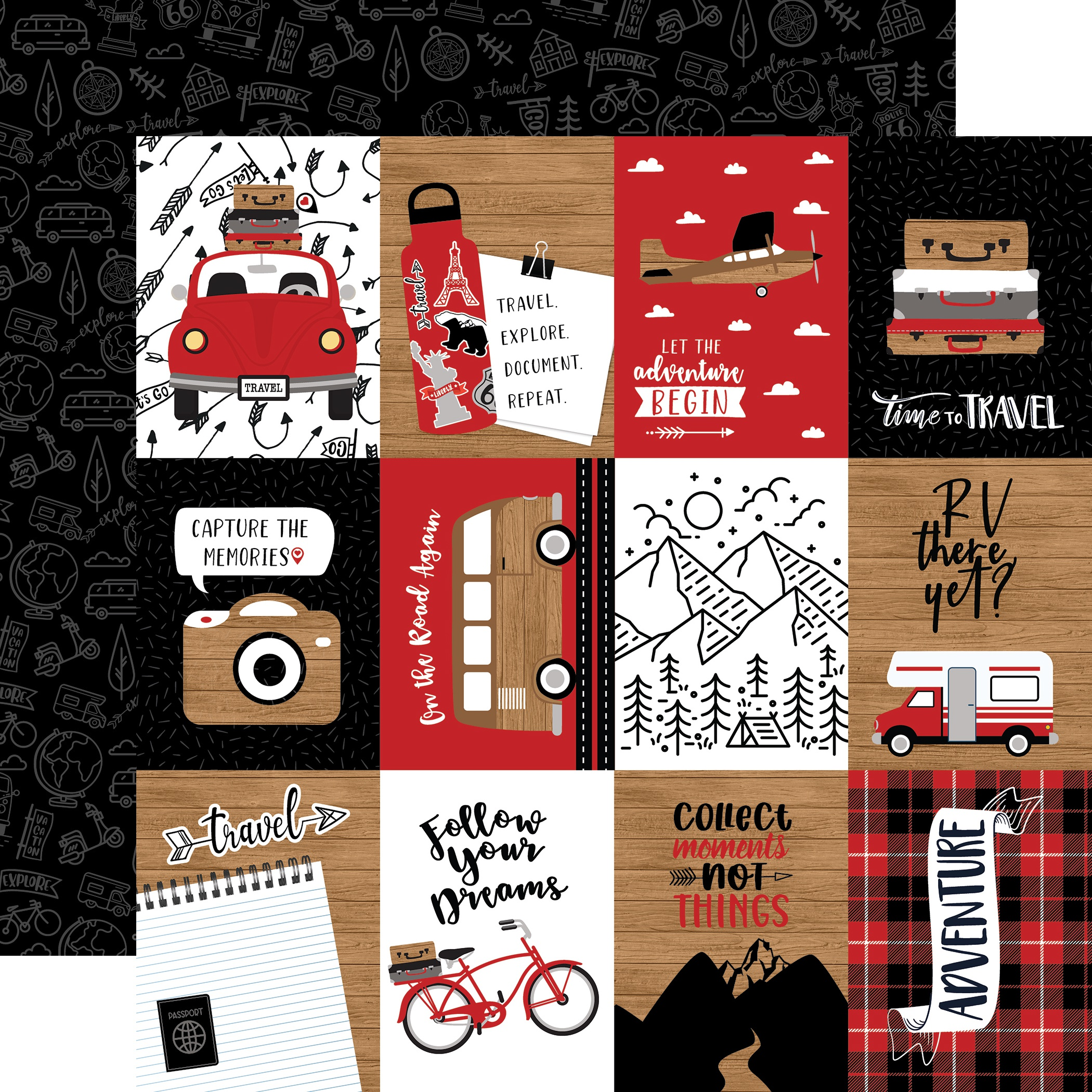 Echo Park - Let's Go Anywhere - 3x4 JOURNALING CARDS - 12x12 Double-Sided Paper