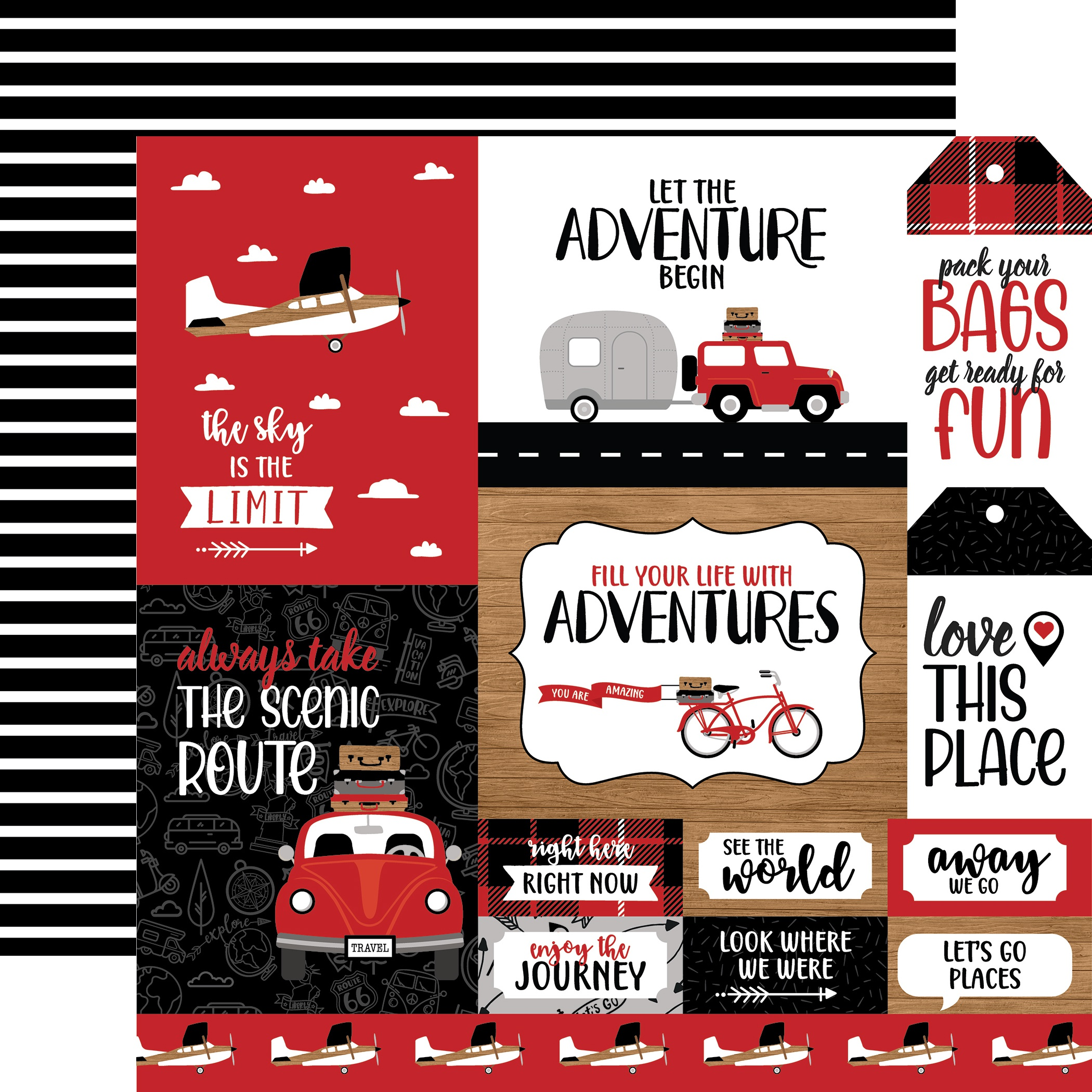 Let's Go Anywhere Double-Sided Cardstock 12X12-Multi Journaling Cards