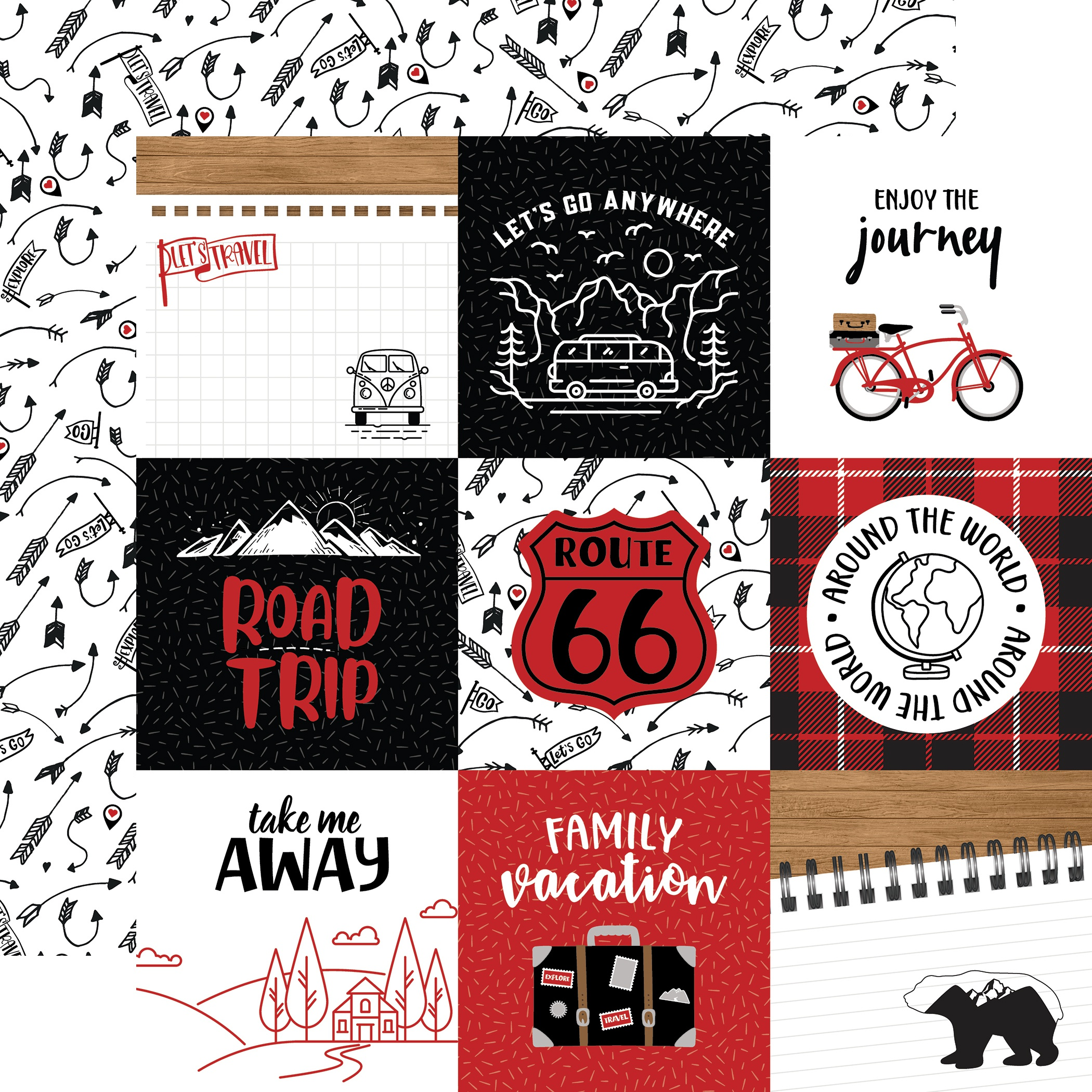 Echo Park - Let's Go Anywhere - 4x4 JOURNALING CARDS - 12x12 Double-Sided Paper