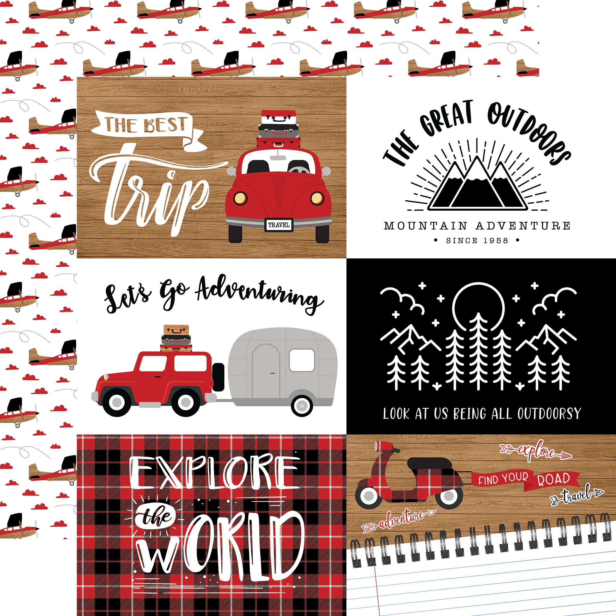 Echo Park - Let's Go Anywhere - 6x4 JOURNALING CARDS - 12x12 Double-Sided Paper