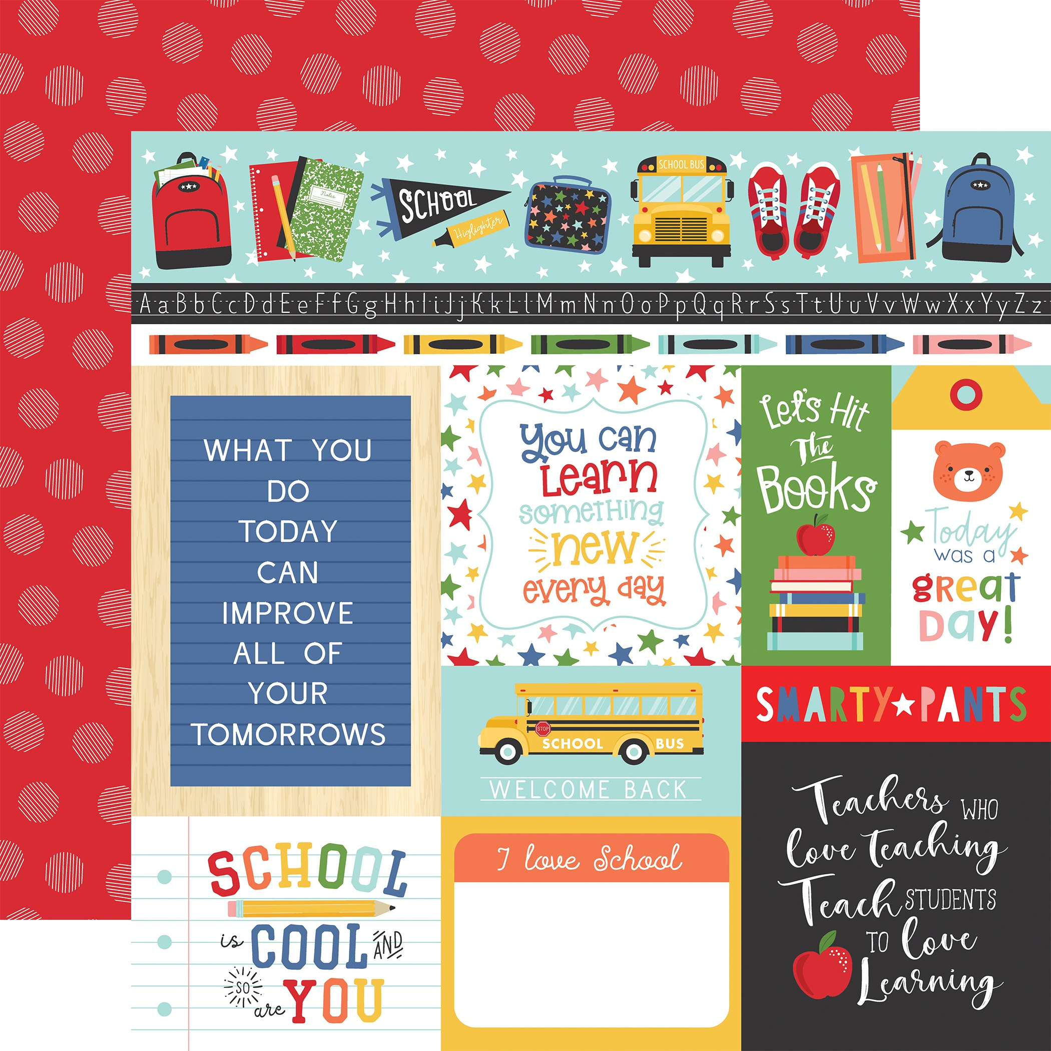 I Love School Double-Sided Cardstock 12X12-Multi Journaling Cards