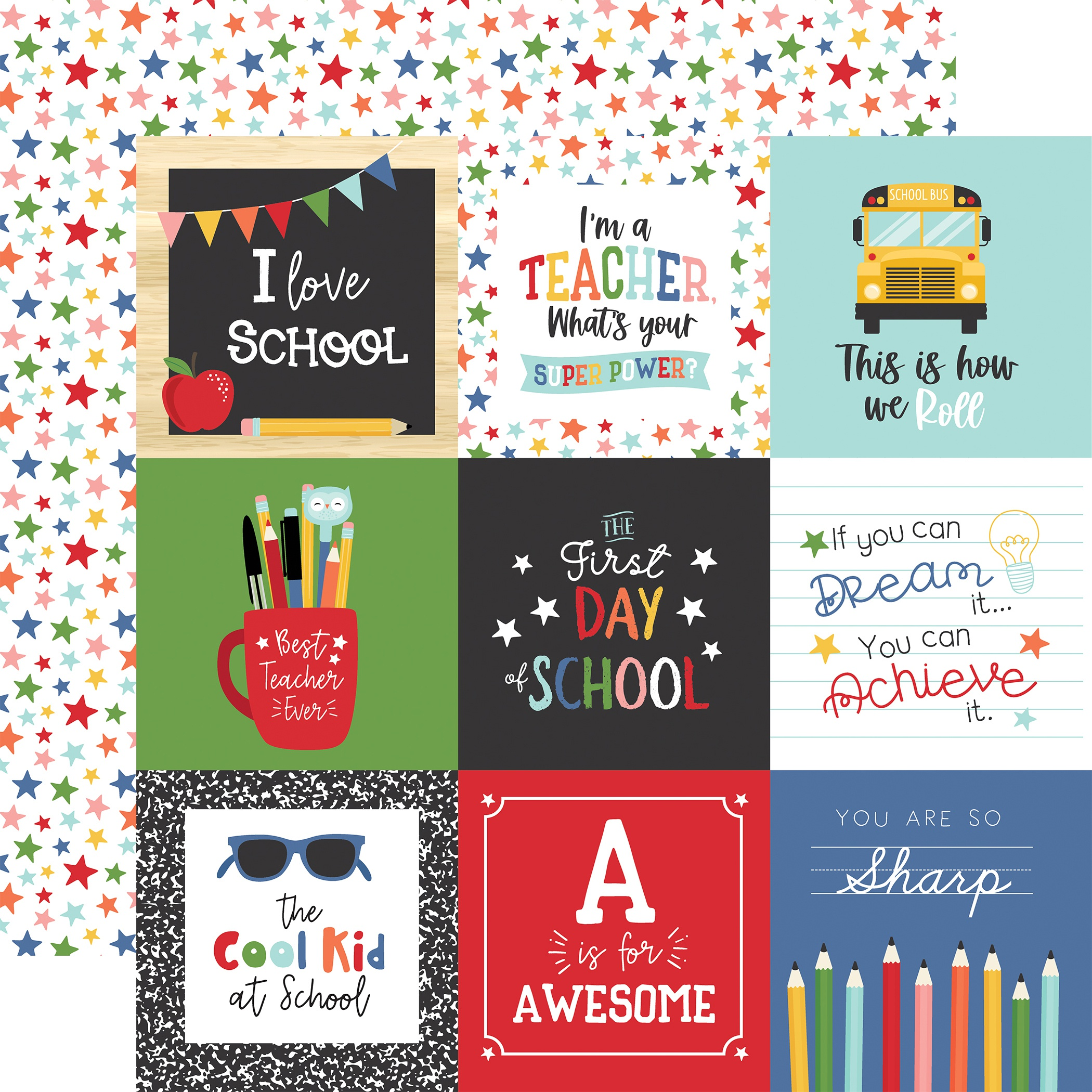 I Love School Double-Sided Cardstock 12X12-4X4 Journaling Cards