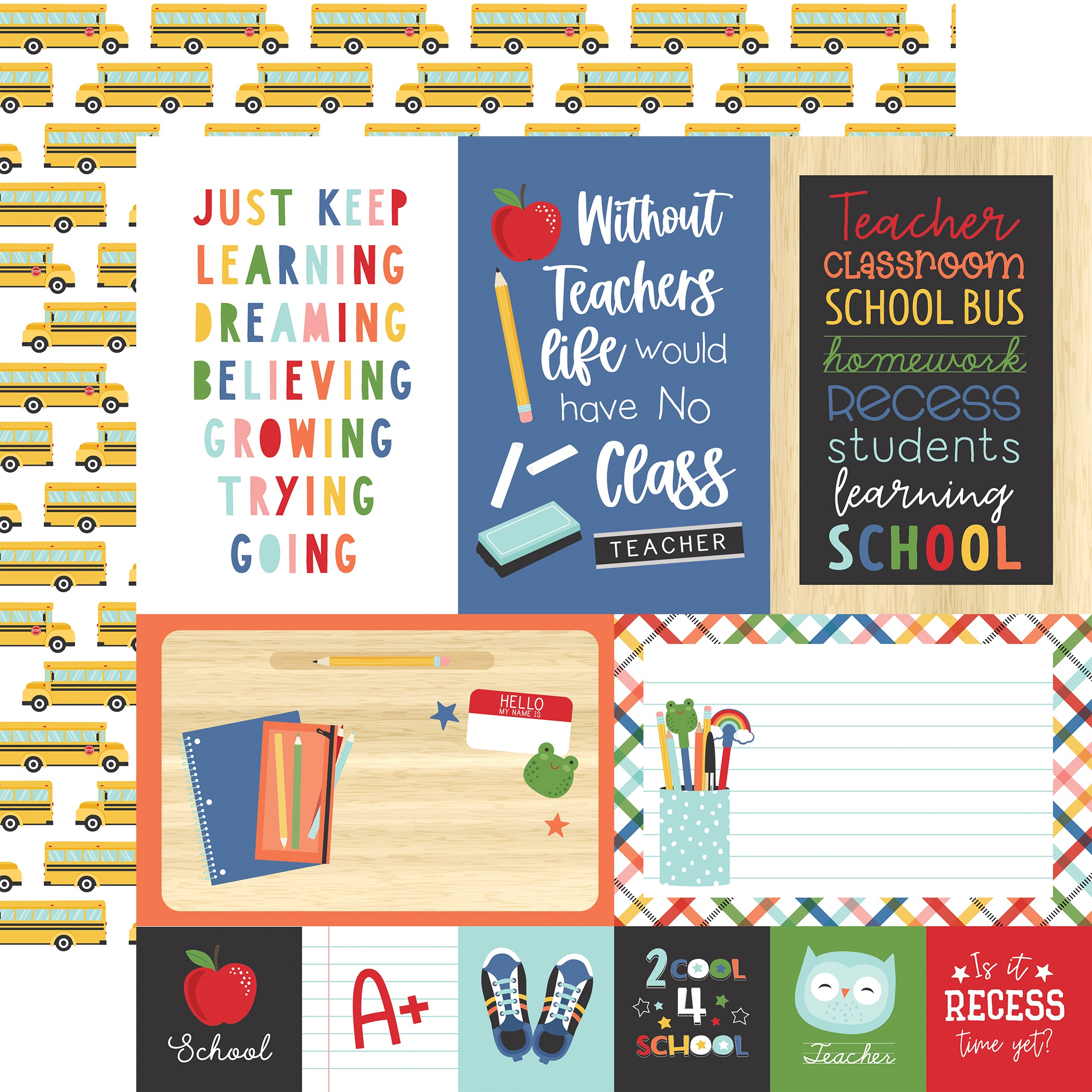 I Love School Double-Sided Cardstock 12X12-4X6 Journaling Cards