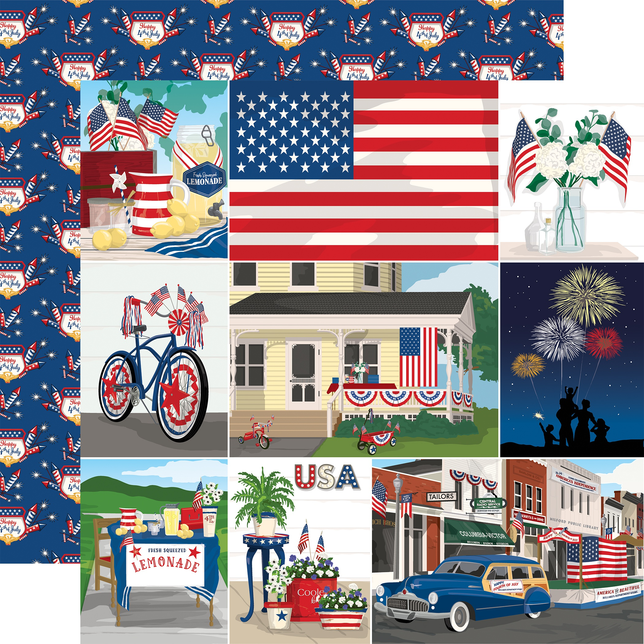 COLLECTION: God Bless America Double-Sided Cardstock 12X12