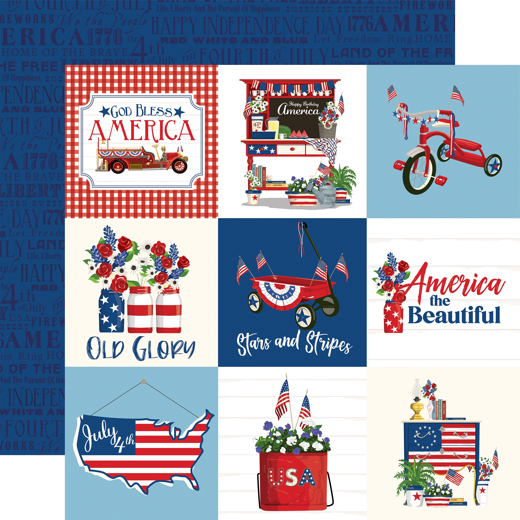 God Bless America Double-Sided Cardstock 12X12-4X4 Journaling Cards
