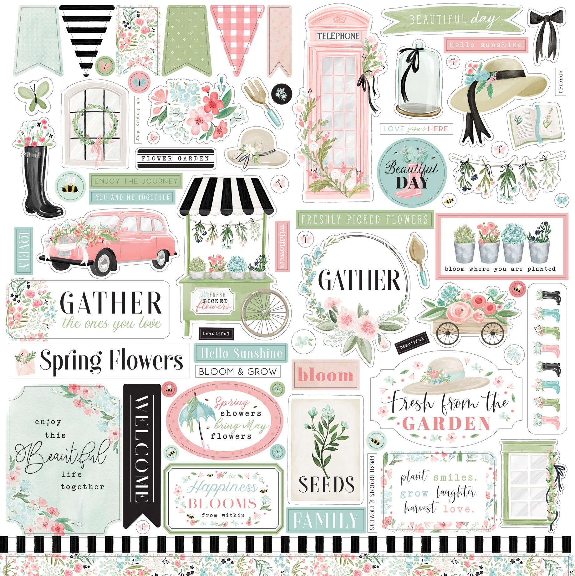Carta Bella - Flower Garden - 12x12 Element Sticker Sheet