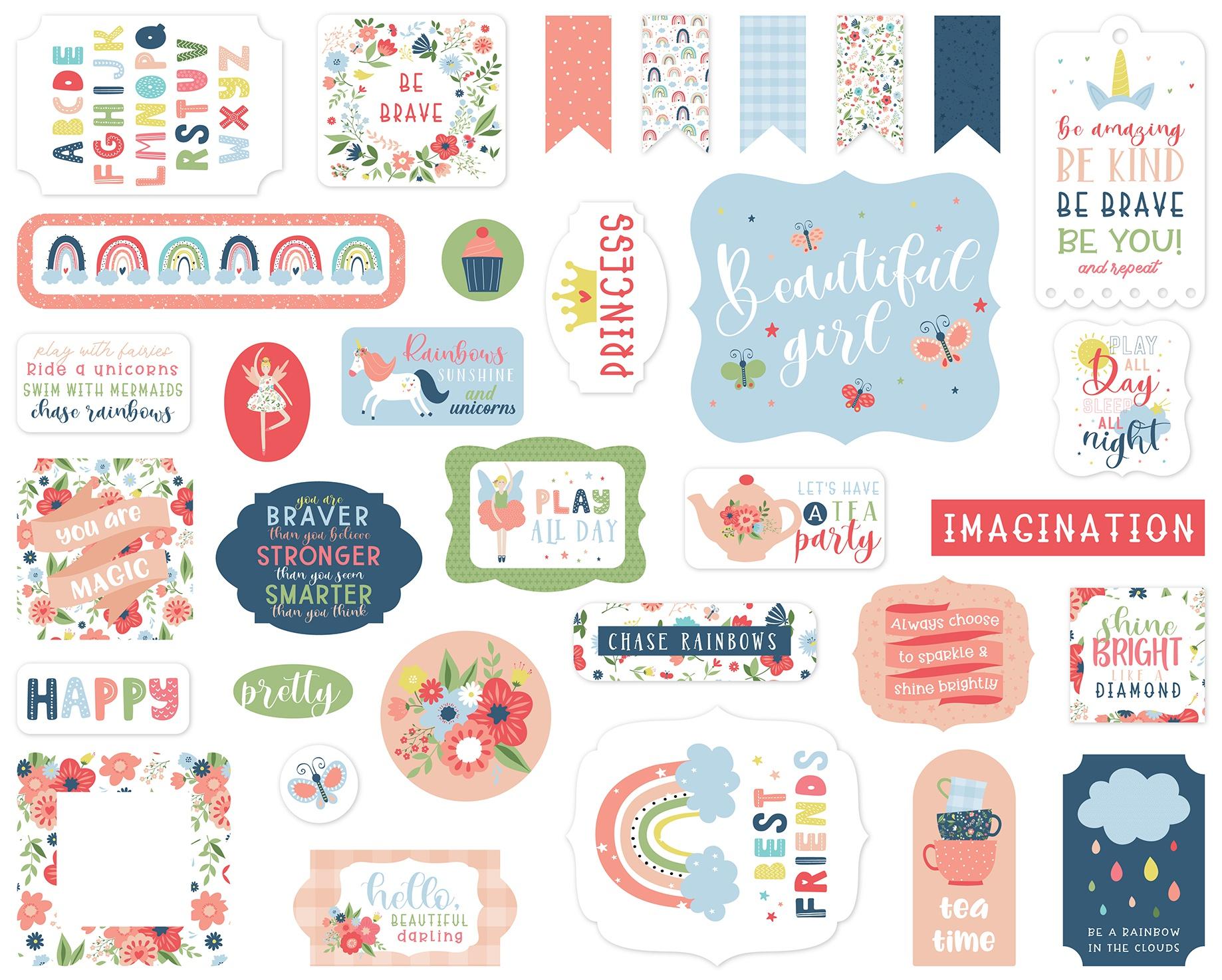 Echo Park Cardstock Ephemera 33/Pkg-Icons, Little Dreamer Girl